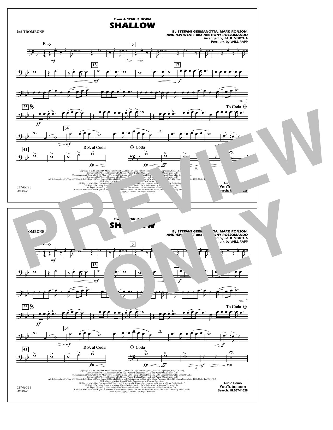 Shallow (from A Star Is Born) (arr. Paul Murtha) - 2nd Trombone (Marching Band)