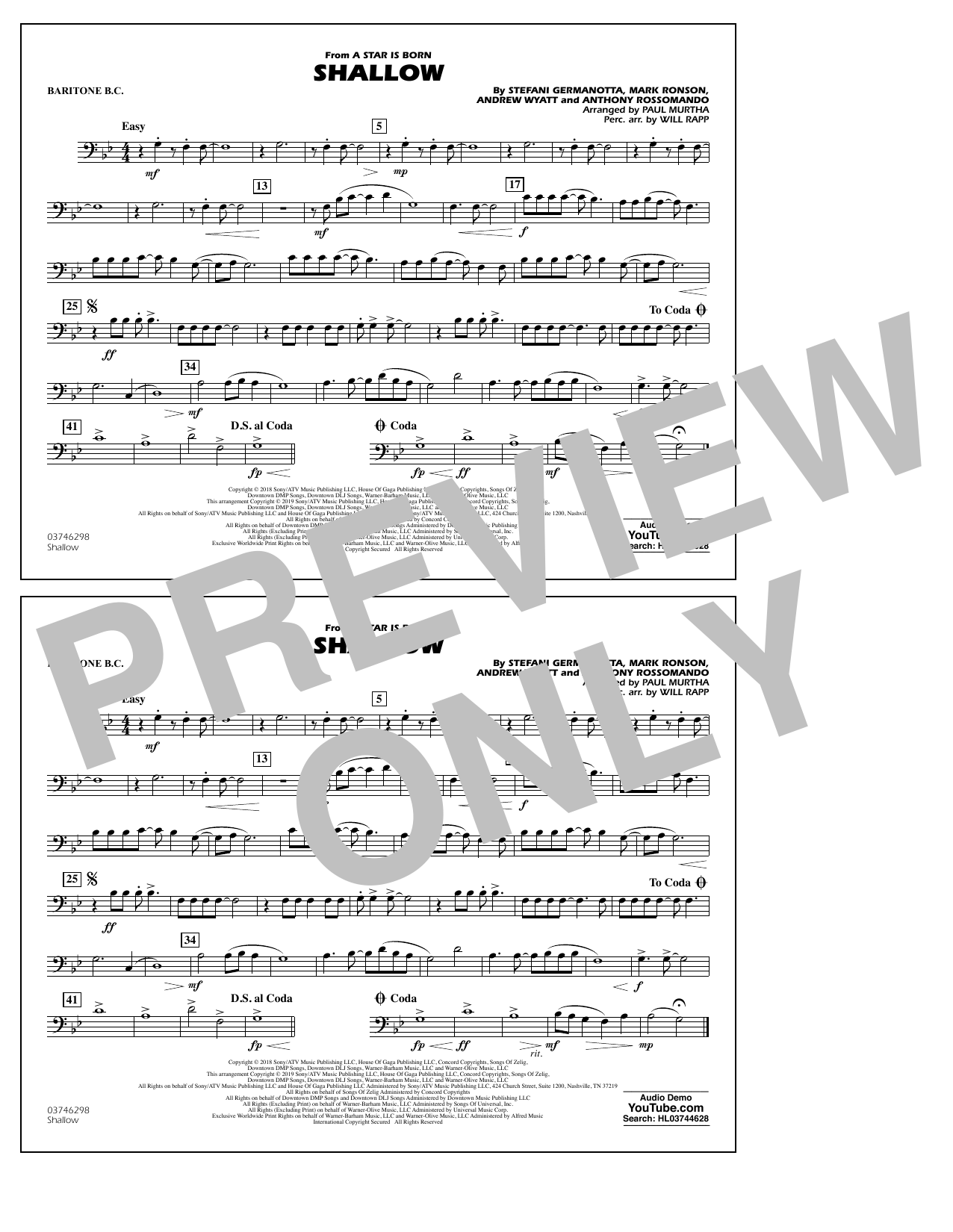 Shallow (from A Star Is Born) (arr. Paul Murtha) - Baritone B.C. (Marching Band)