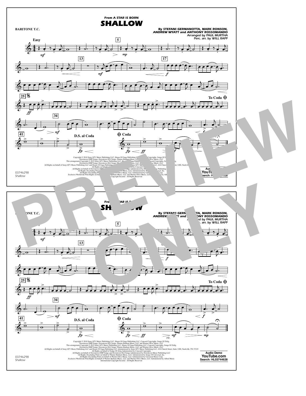 Shallow (from A Star Is Born) (arr. Paul Murtha) - Baritone T.C. (Marching Band)