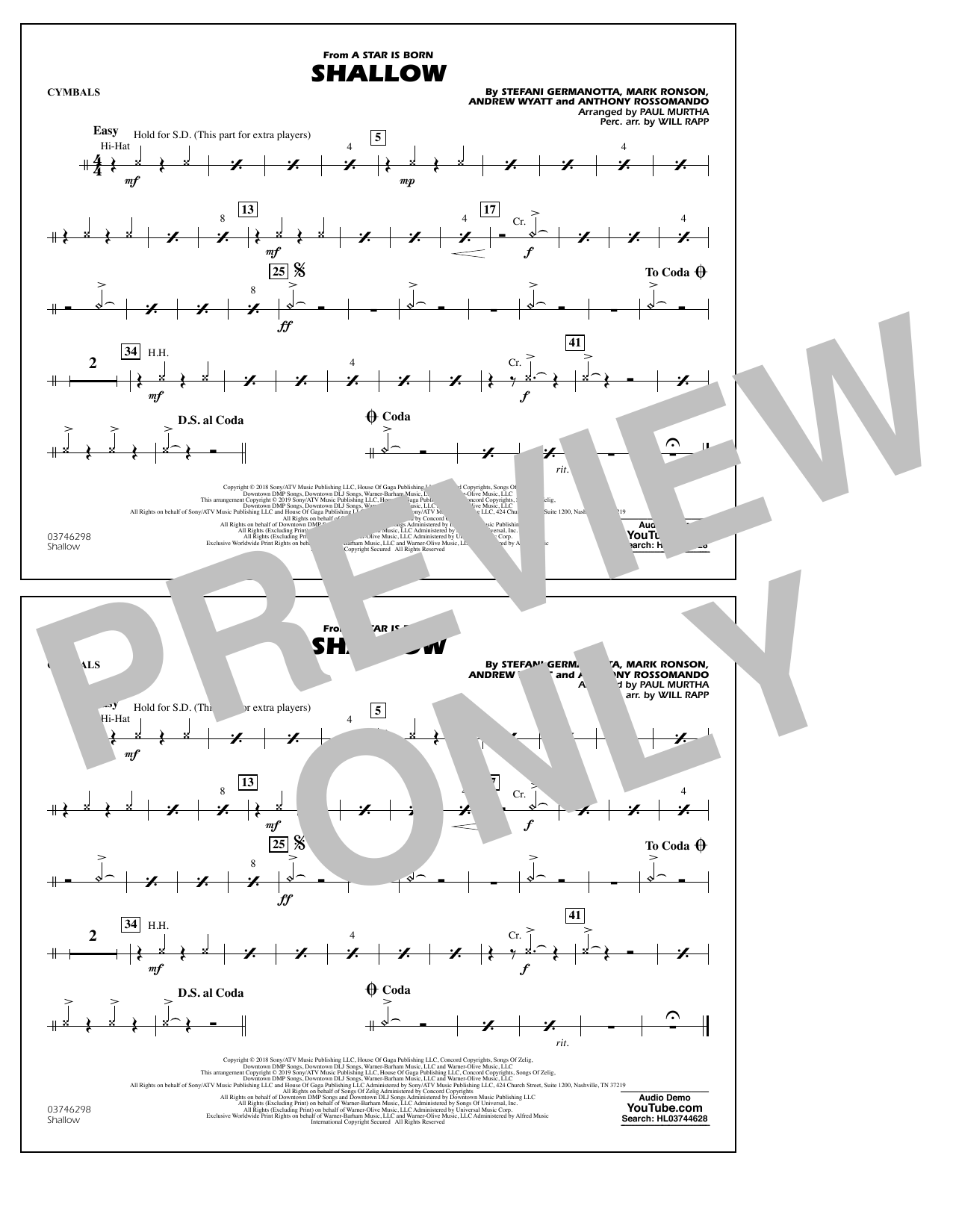 Shallow (from A Star Is Born) (arr. Paul Murtha) - Cymbals (Marching Band)