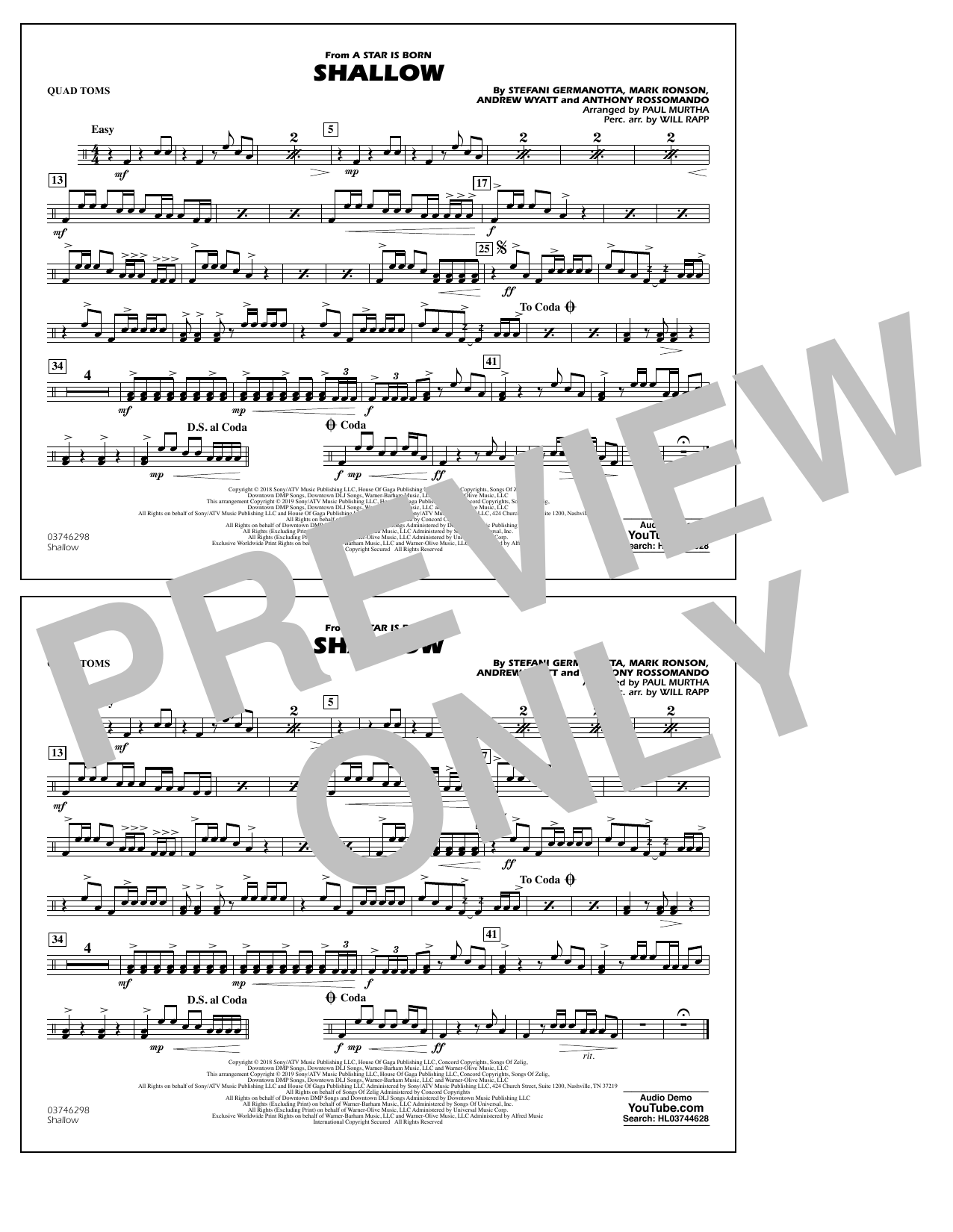 Shallow (from A Star Is Born) (arr. Paul Murtha) - Quad Toms (Marching Band)