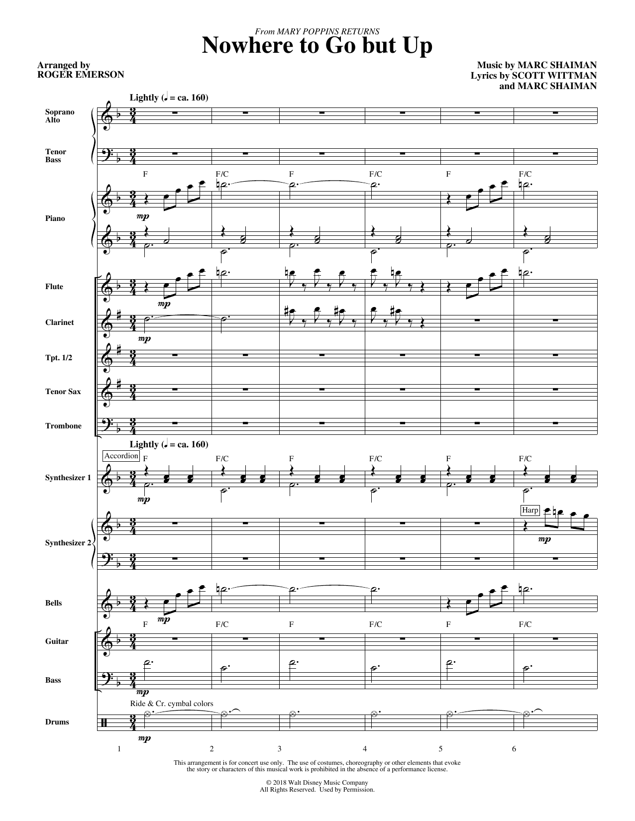 Nowhere to Go But Up (from Mary Poppins Returns) (arr. Roger Emerson) - Full Score (Choir Instrumental Pak)