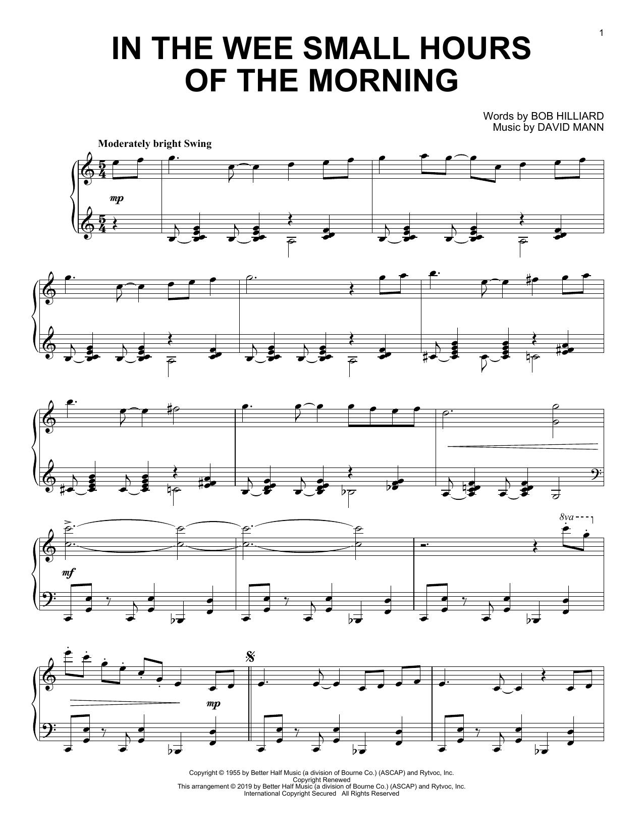 In The Wee Small Hours Of The Morning (Piano Solo)