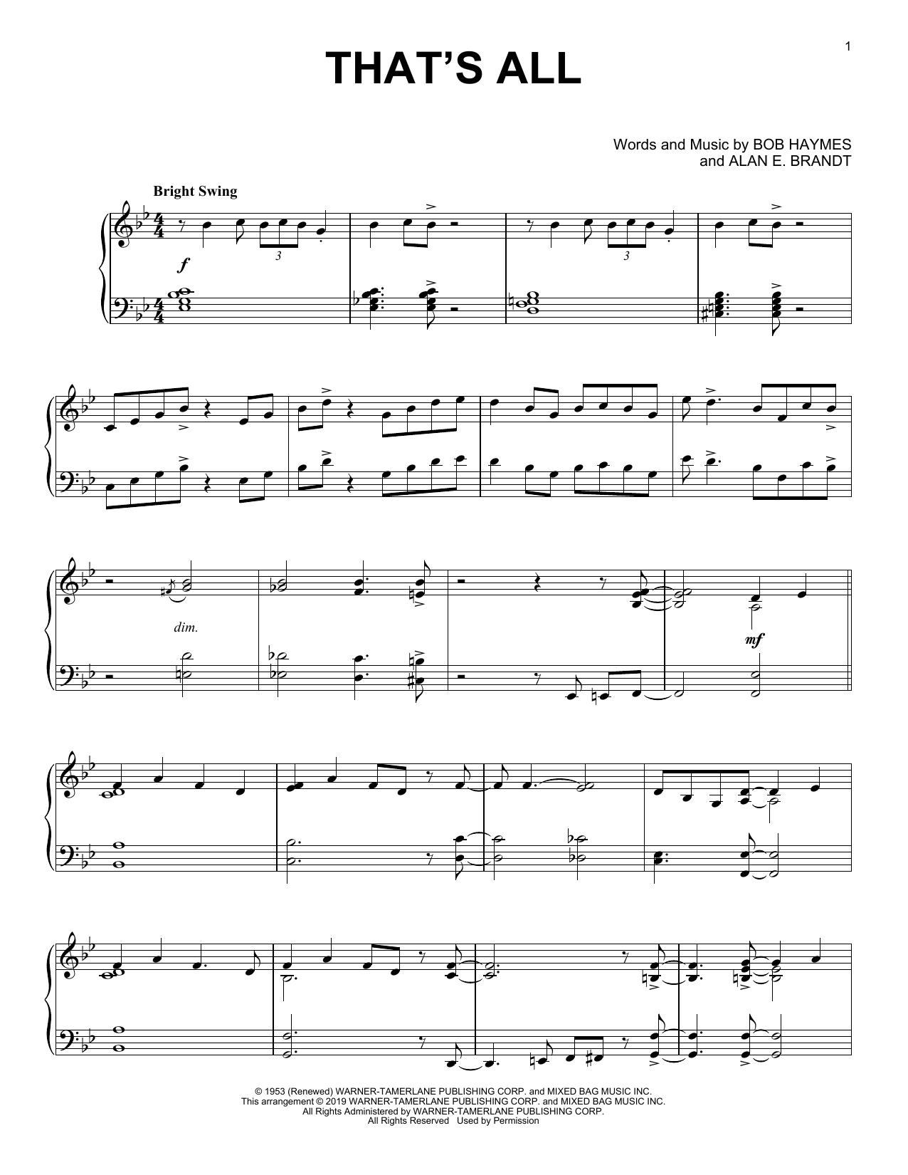 That's All (Piano Solo)