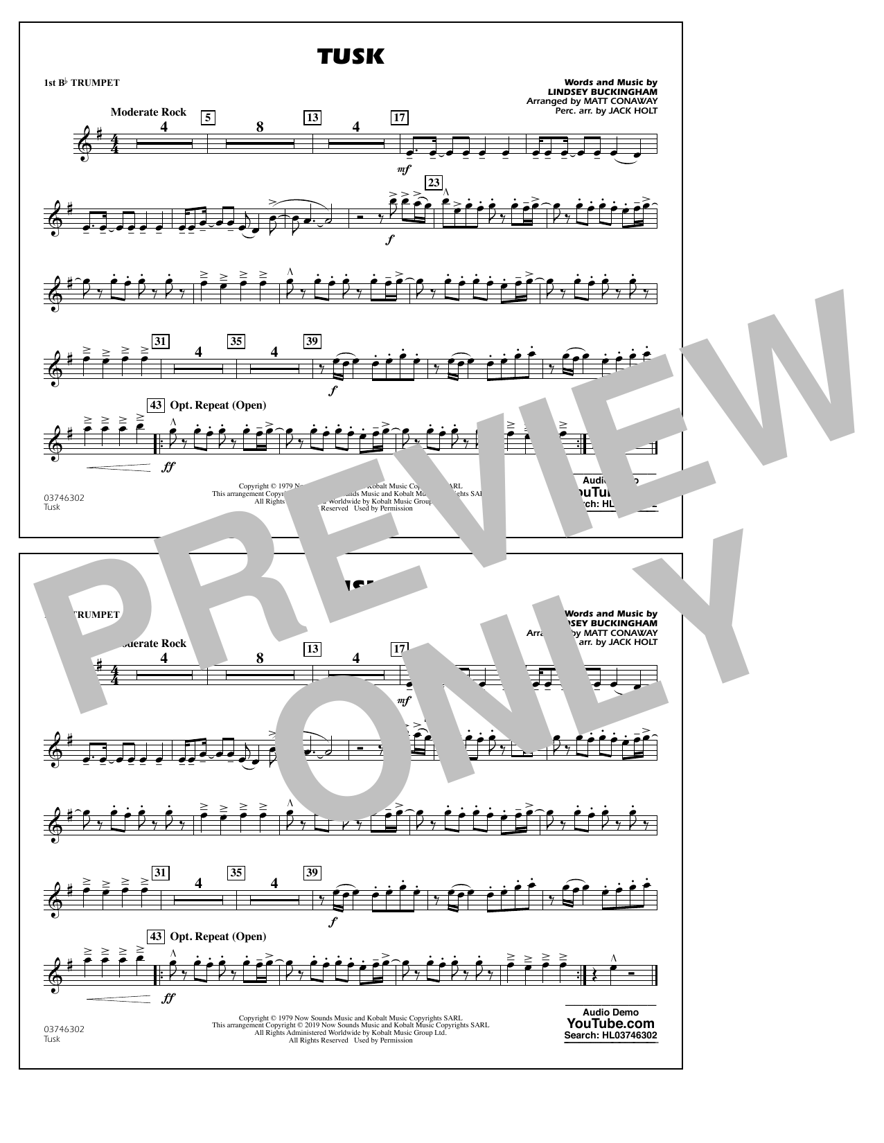 Tusk (arr. Matt Conaway) - 1st Bb Trumpet (Marching Band)