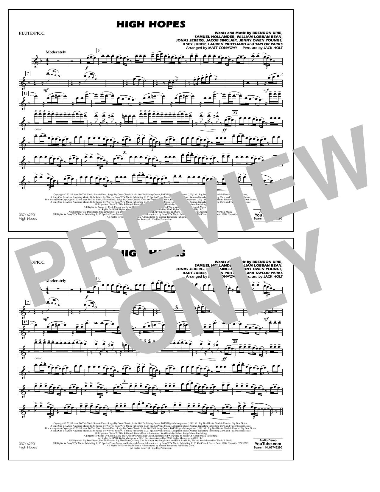 High Hopes (arr. Matt Conaway) - Flute/Piccolo (Marching Band)