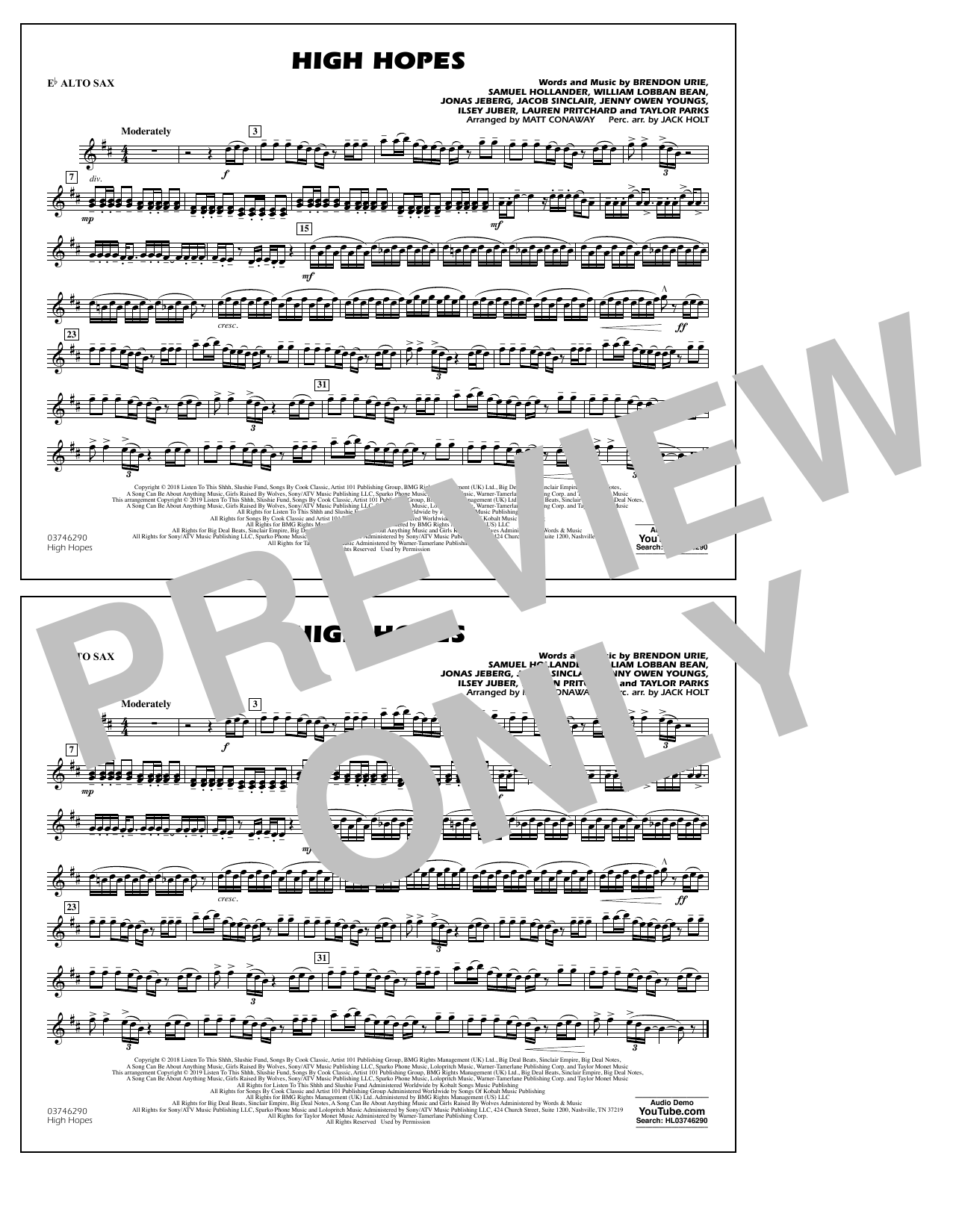 High Hopes (arr. Matt Conaway) - Eb Alto Sax (Marching Band)