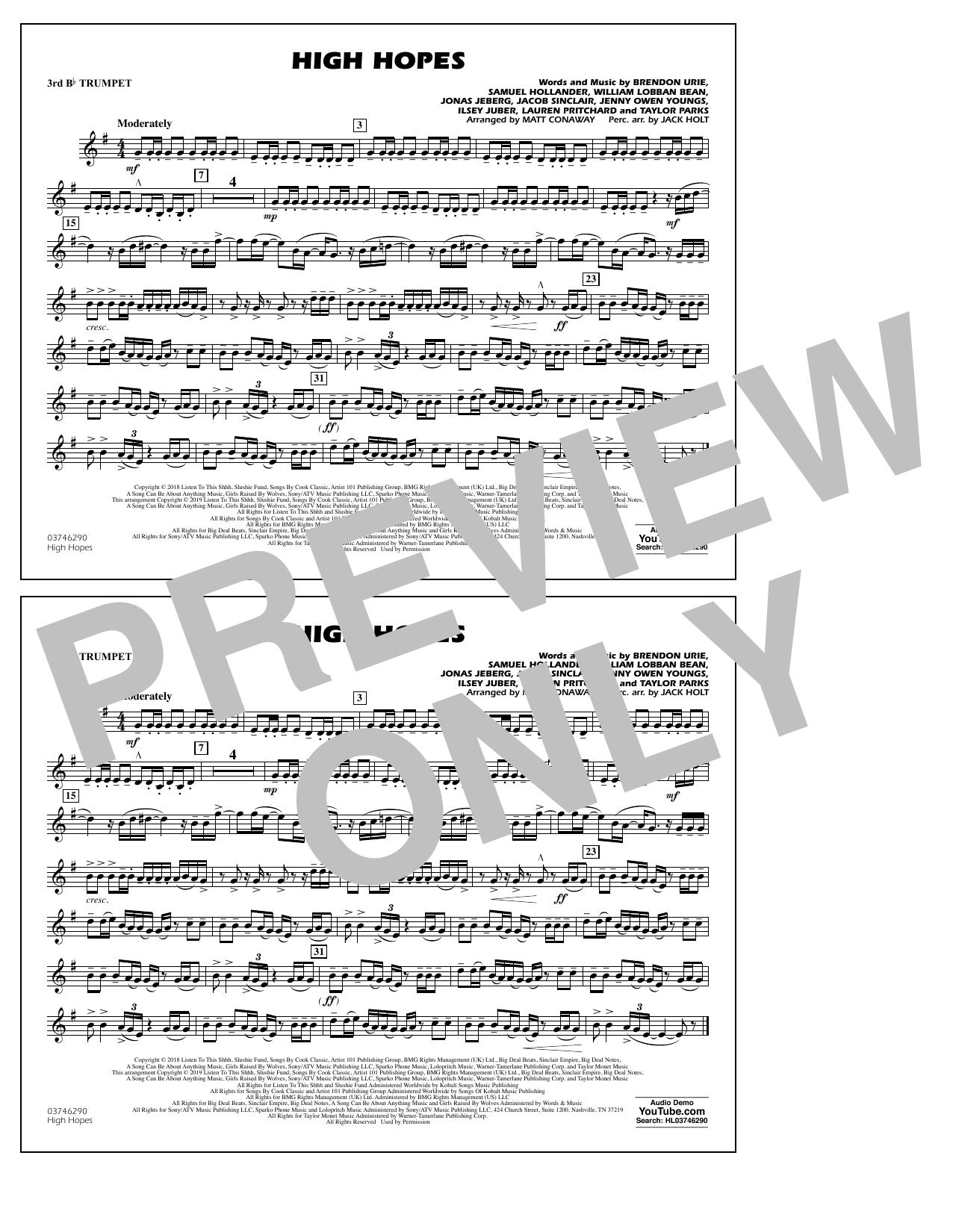 High Hopes (arr. Matt Conaway) - 3rd Bb Trumpet (Marching Band)