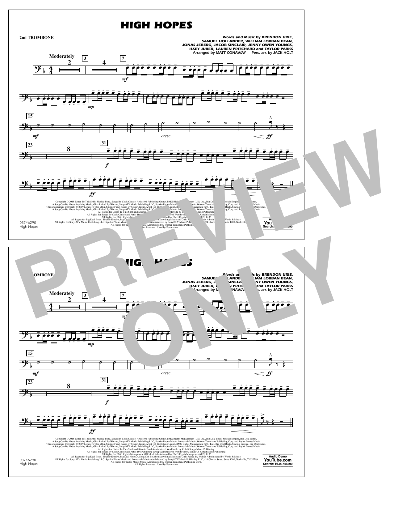 High Hopes (arr. Matt Conaway) - 2nd Trombone (Marching Band)