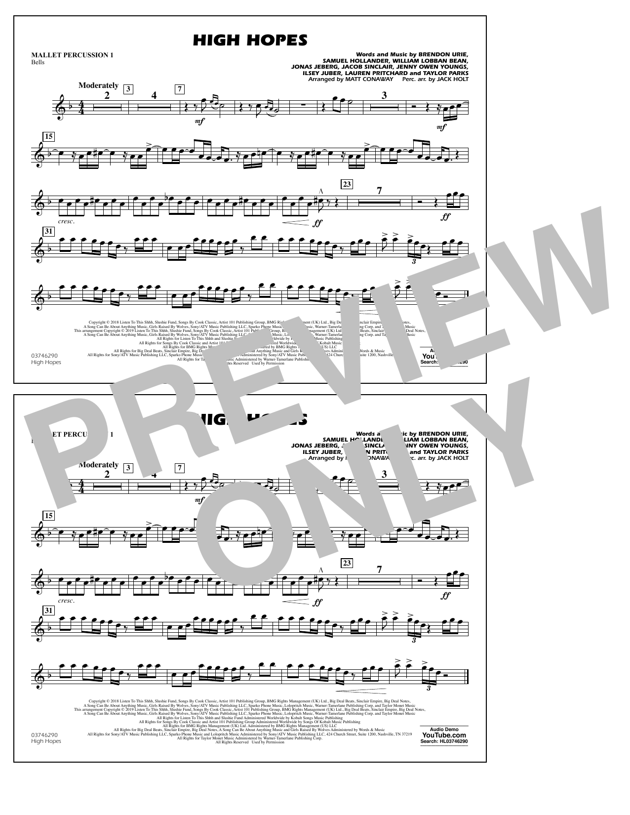 High Hopes (arr. Matt Conaway) - Mallet Percussion 1 (Marching Band)