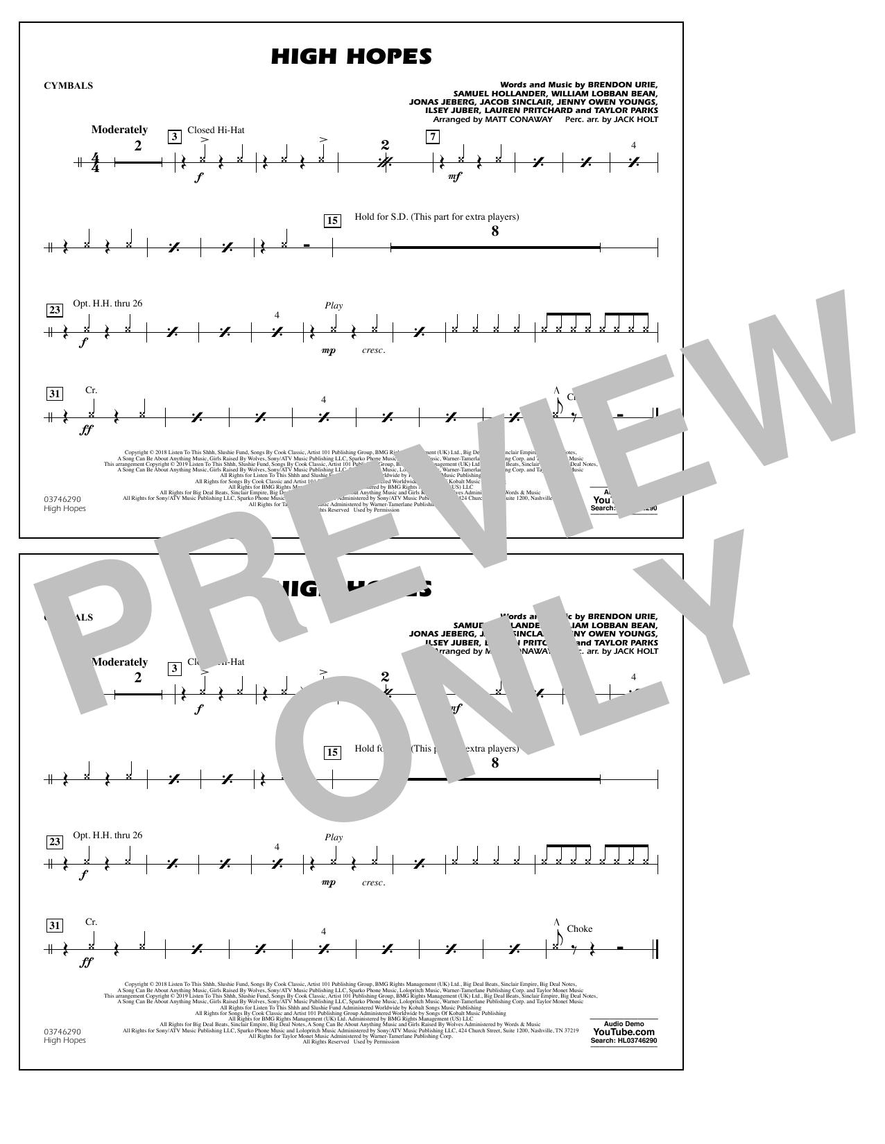 High Hopes (arr. Matt Conaway) - Cymbals (Marching Band)