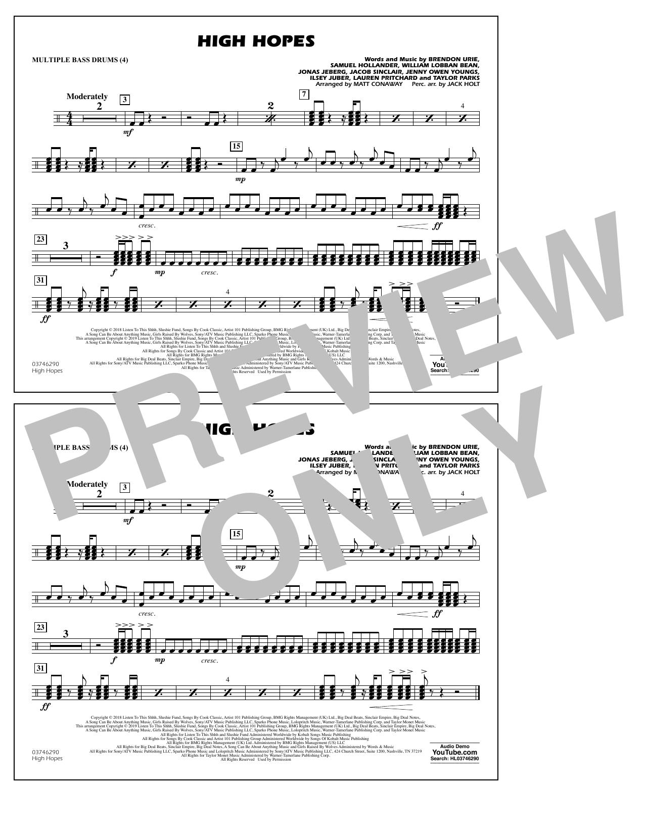 High Hopes (arr. Matt Conaway) - Multiple Bass Drums (Marching Band)