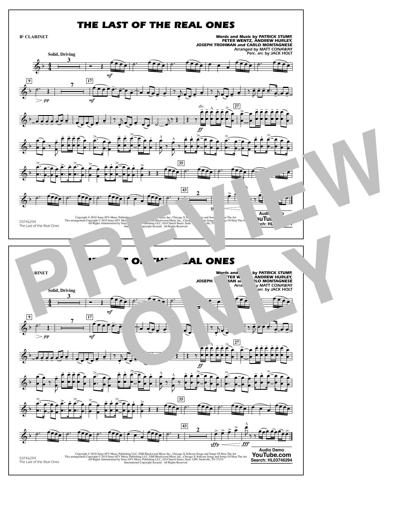 Last of the Real Ones (arr. Matt Conaway) - Bb Clarinet (Marching Band)