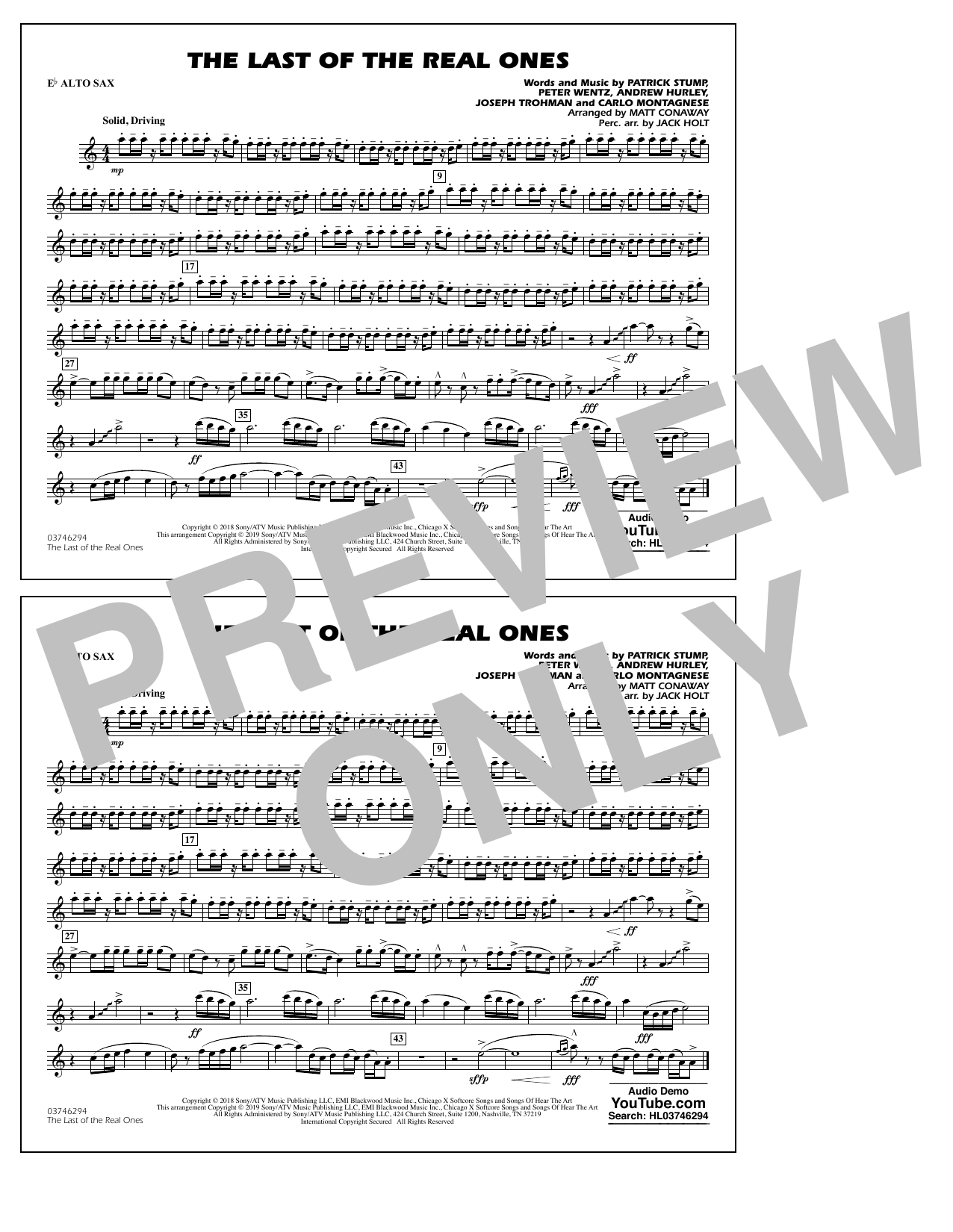 Last of the Real Ones (arr. Matt Conaway) - Eb Alto Sax (Marching Band)
