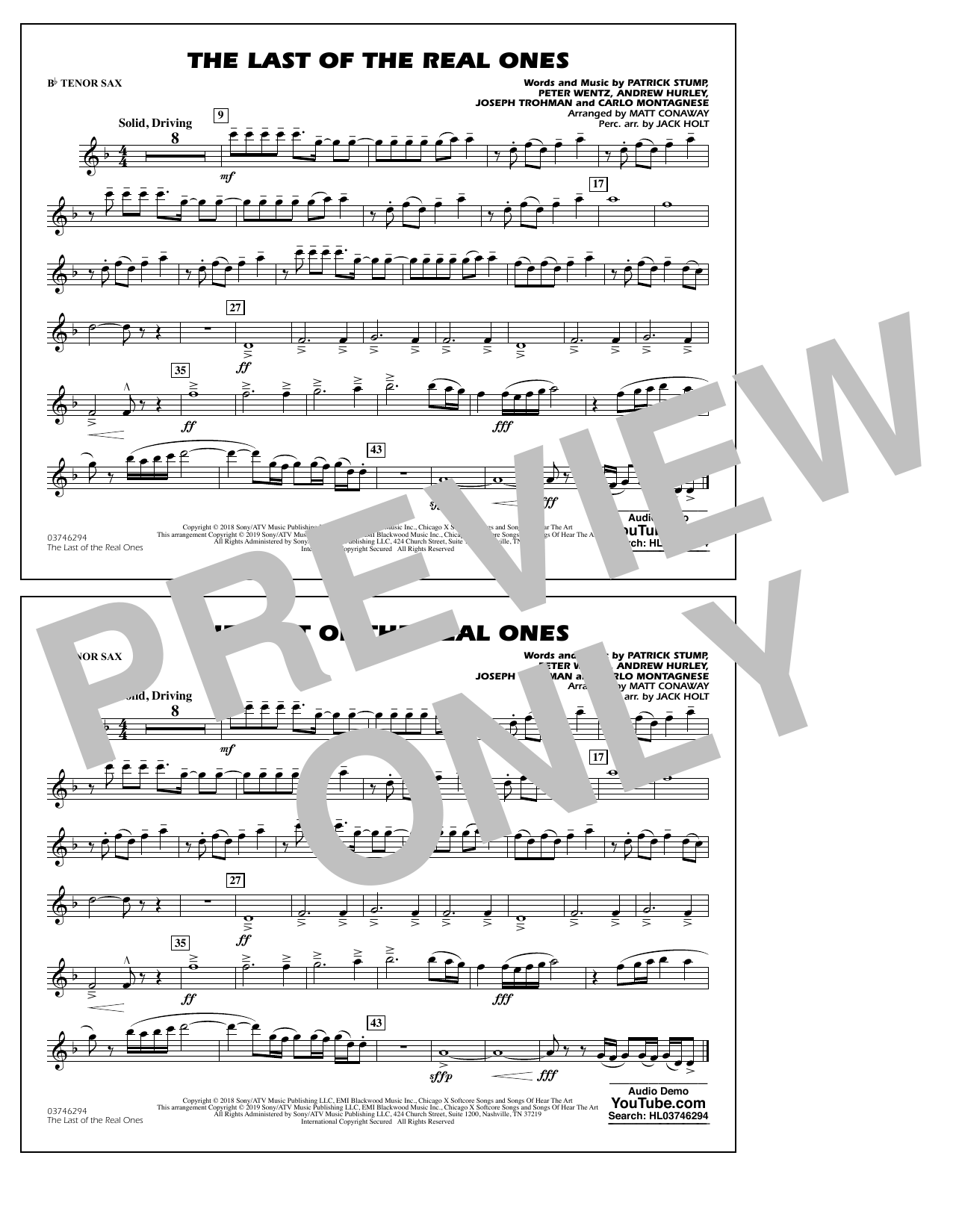 Last of the Real Ones (arr. Matt Conaway) - Bb Tenor Sax (Marching Band)