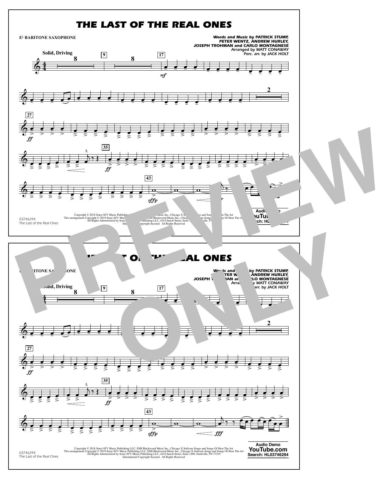 Last of the Real Ones (arr. Matt Conaway) - Eb Baritone Sax (Marching Band)