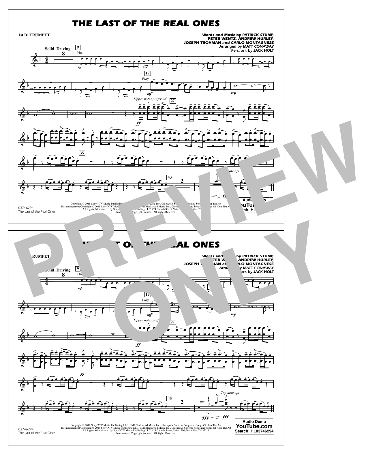 Last of the Real Ones (arr. Matt Conaway) - 1st Bb Trumpet (Marching Band)