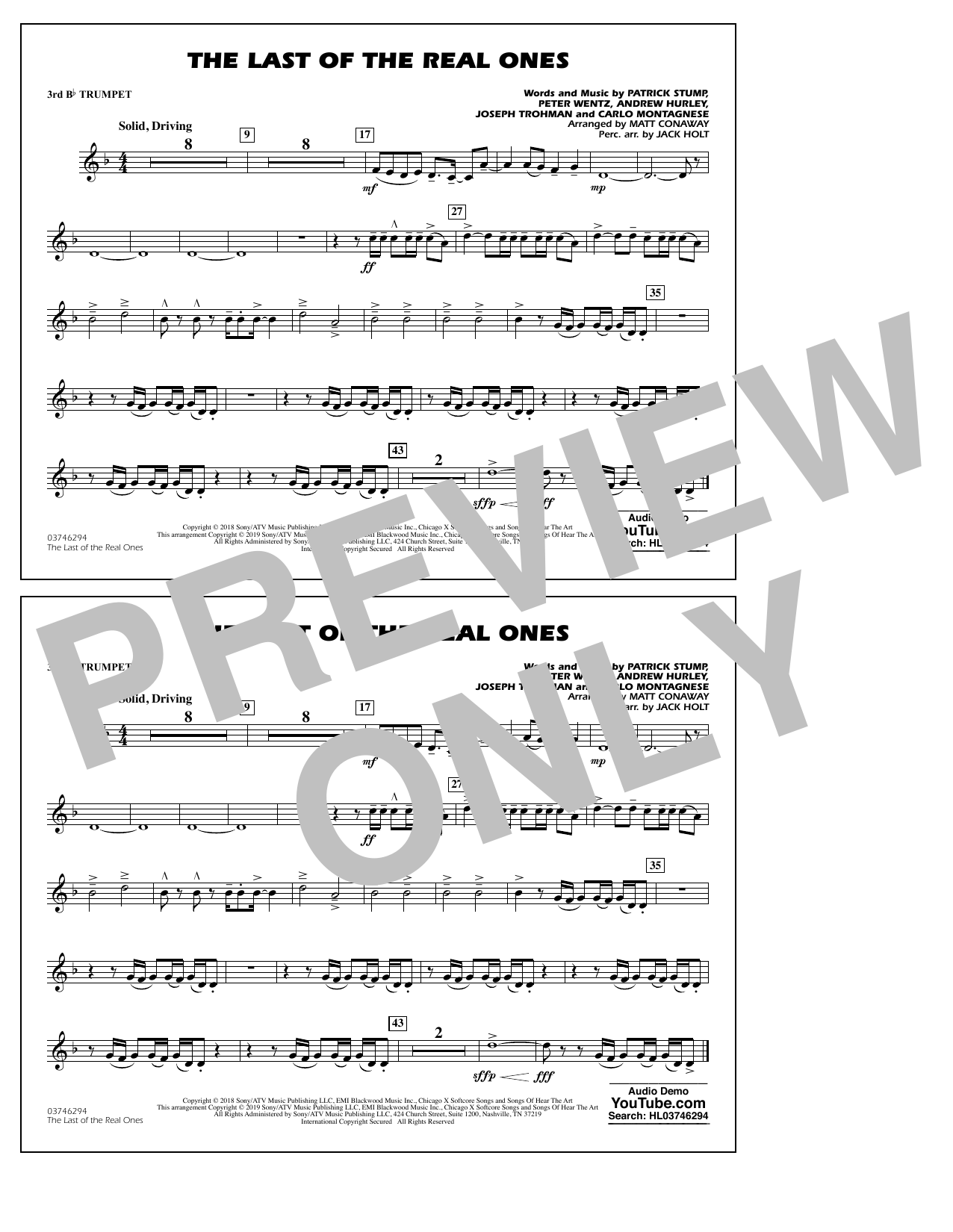 Last of the Real Ones (arr. Matt Conaway) - 3rd Bb Trumpet (Marching Band)