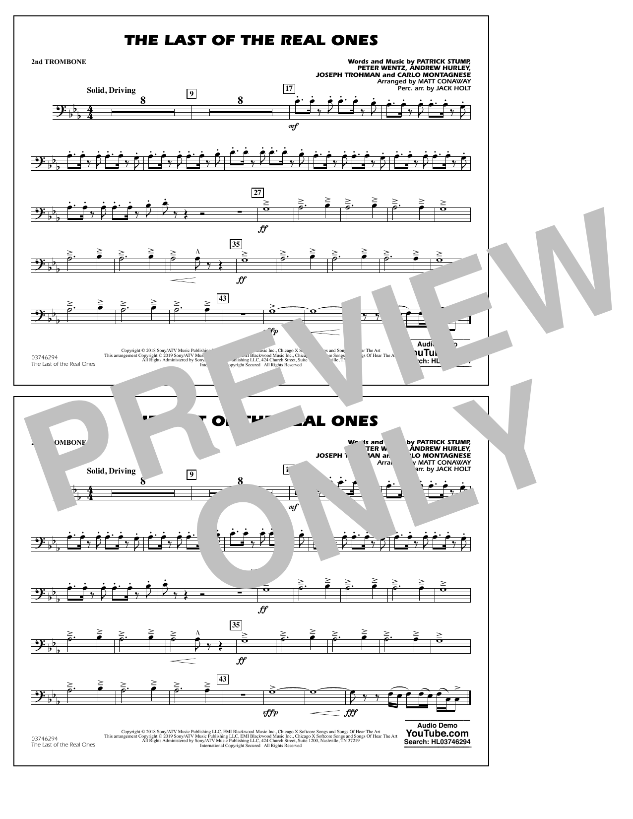 Last of the Real Ones (arr. Matt Conaway) - 2nd Trombone (Marching Band)