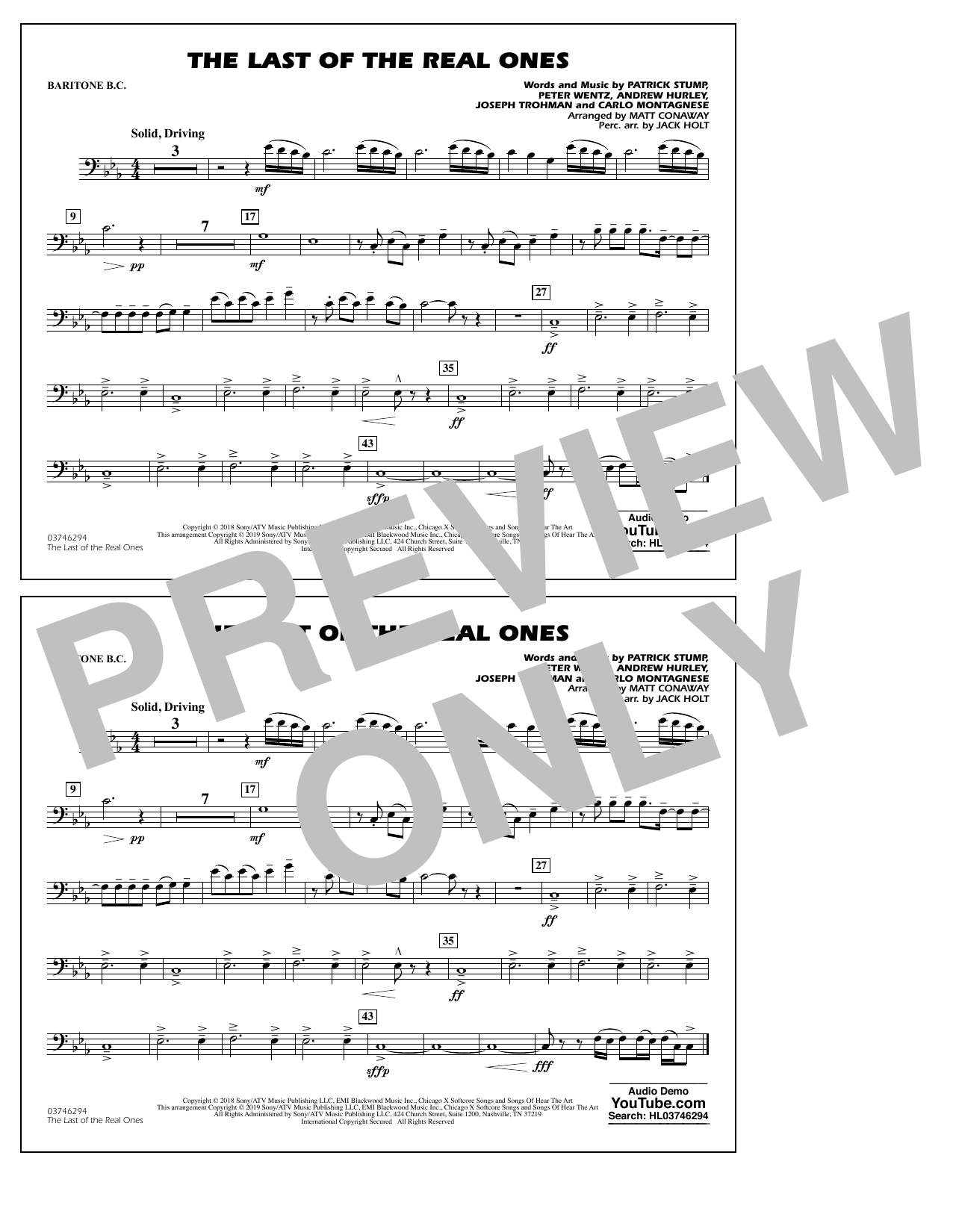 Last of the Real Ones (arr. Matt Conaway) - Baritone B.C. (Marching Band)