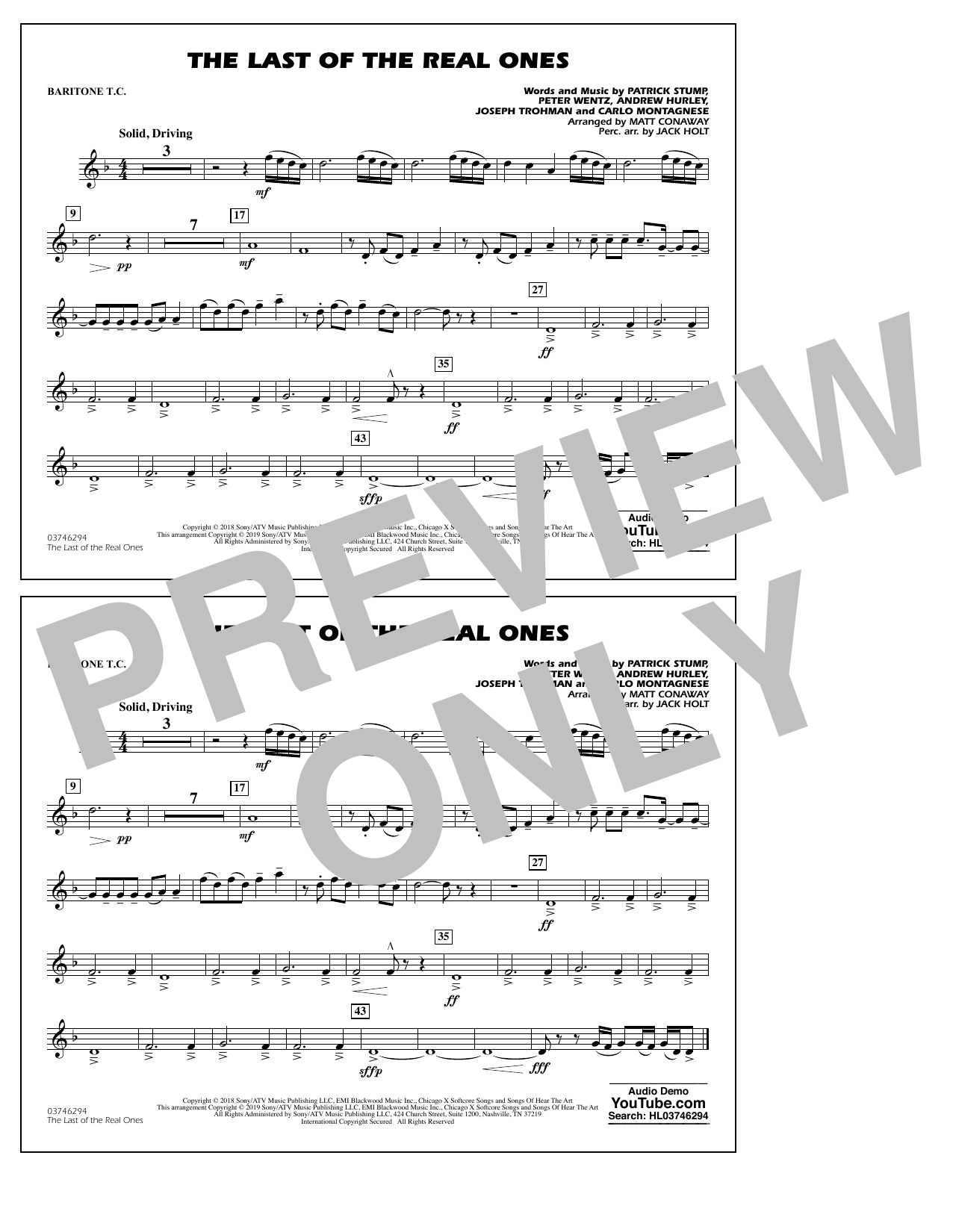 Last of the Real Ones (arr. Matt Conaway) - Baritone T.C. (Marching Band)