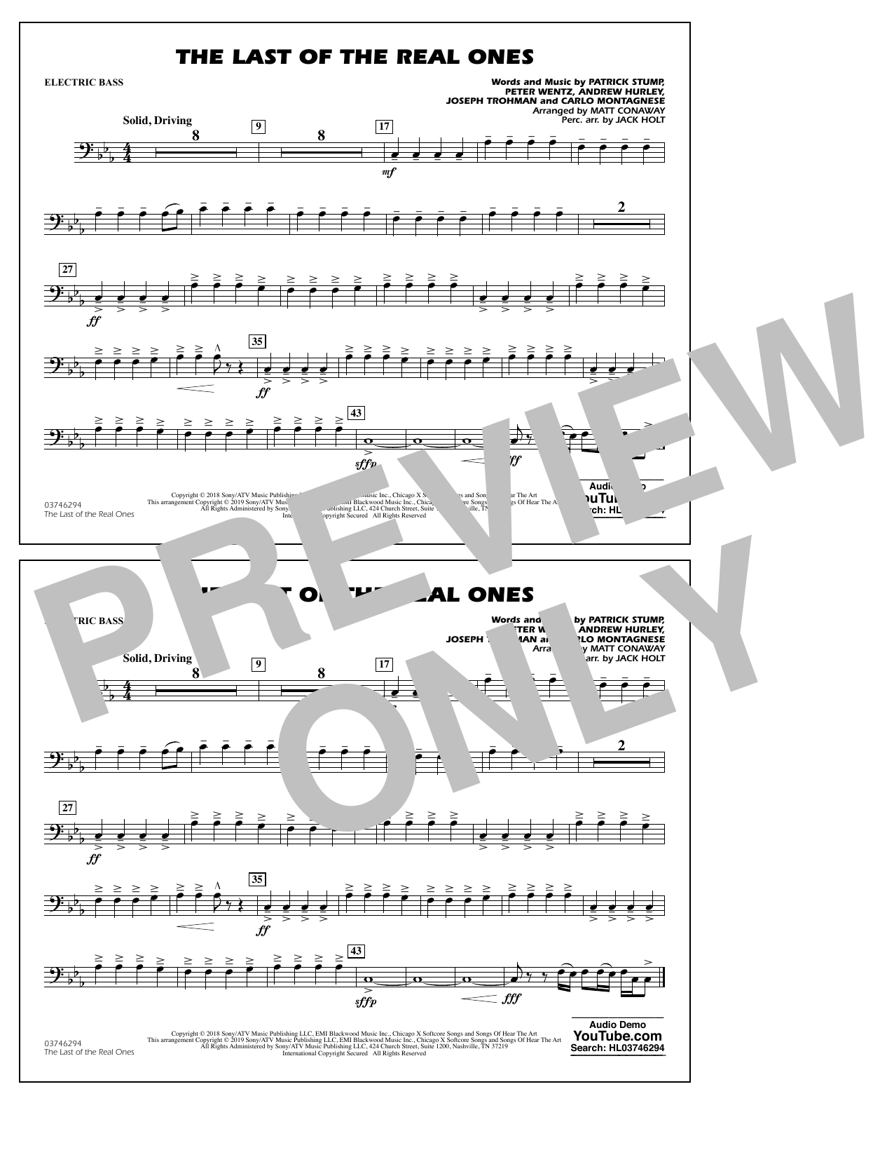 Last of the Real Ones (arr. Matt Conaway) - Electric Bass (Marching Band)