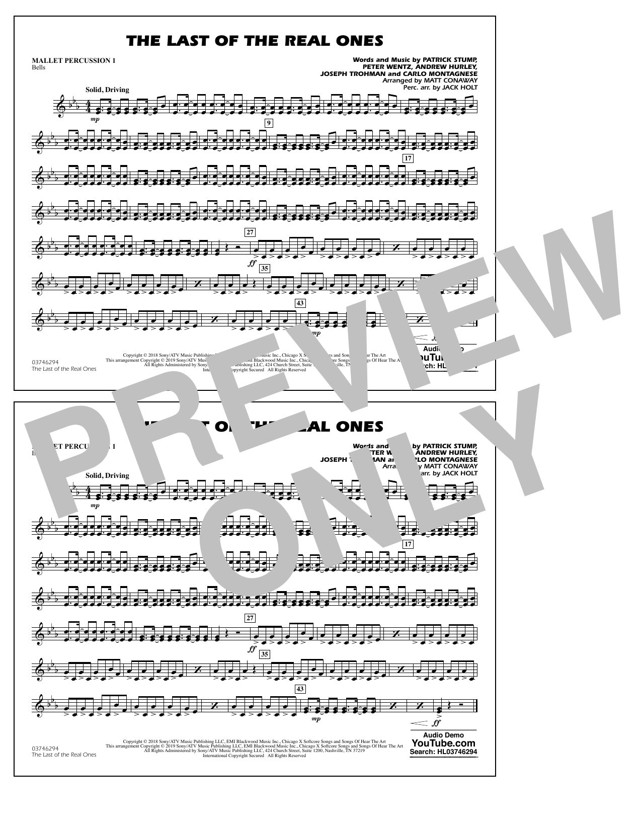 Last of the Real Ones (arr. Matt Conaway) - Mallet Percussion 1 (Marching Band)