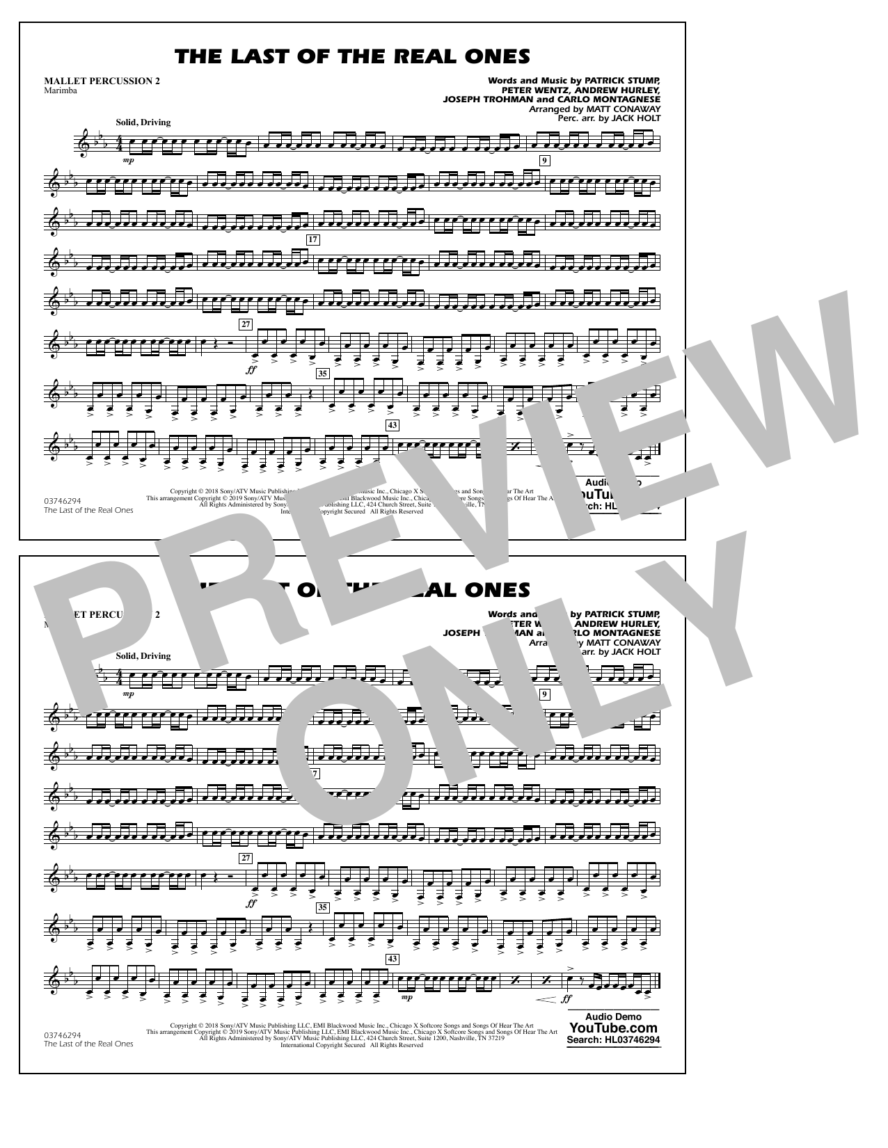 Last of the Real Ones (arr. Matt Conaway) - Mallet Percussion 2 (Marching Band)