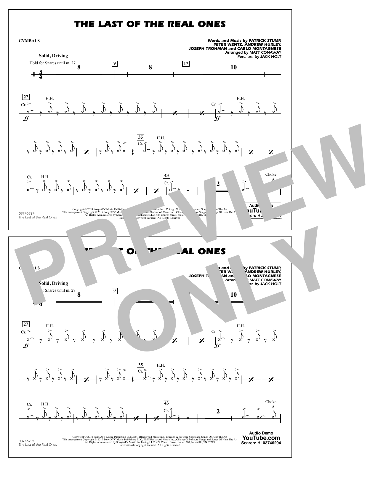 Last of the Real Ones (arr. Matt Conaway) - Cymbals (Marching Band)