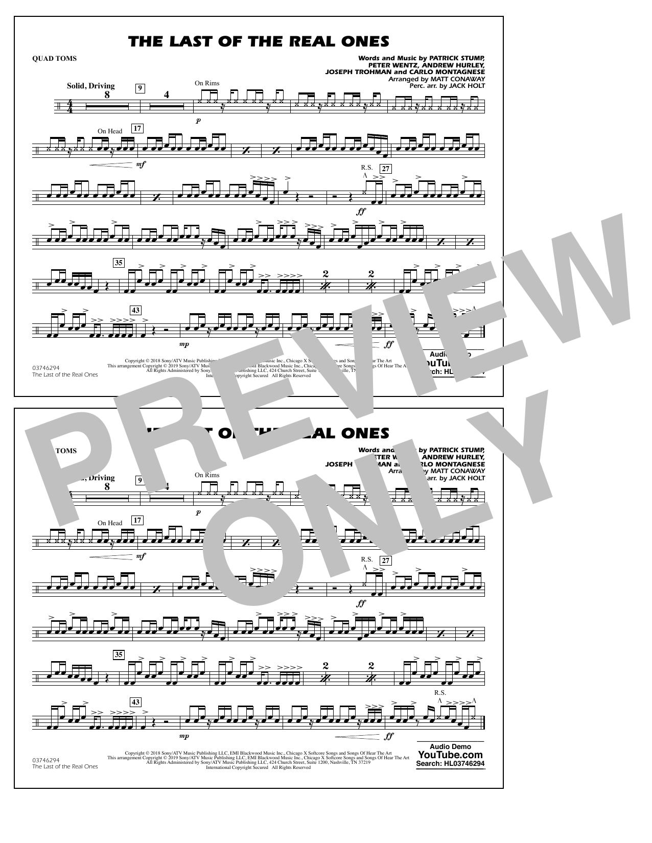 Last of the Real Ones (arr. Matt Conaway) - Quad Toms (Marching Band)