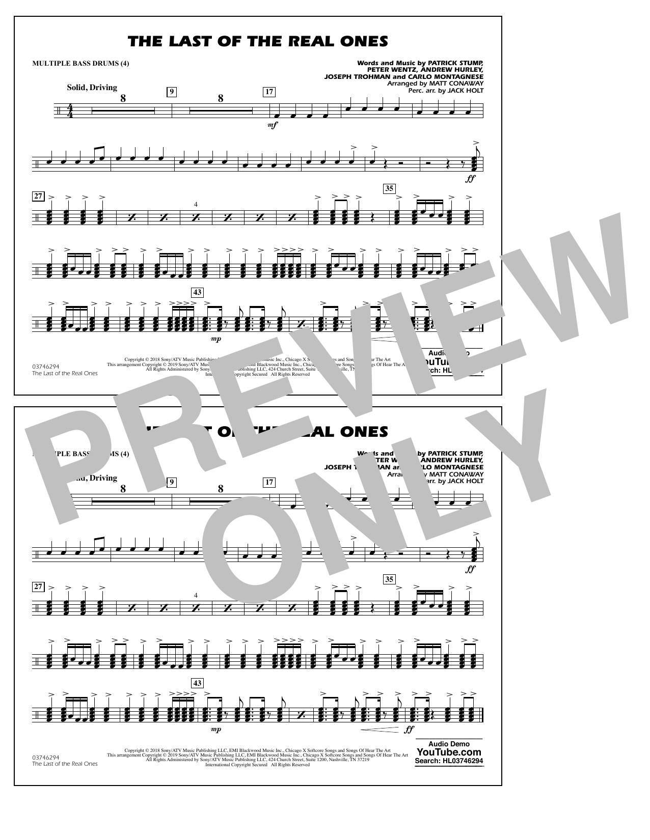Last of the Real Ones (arr. Matt Conaway) - Multiple Bass Drums (Marching Band)