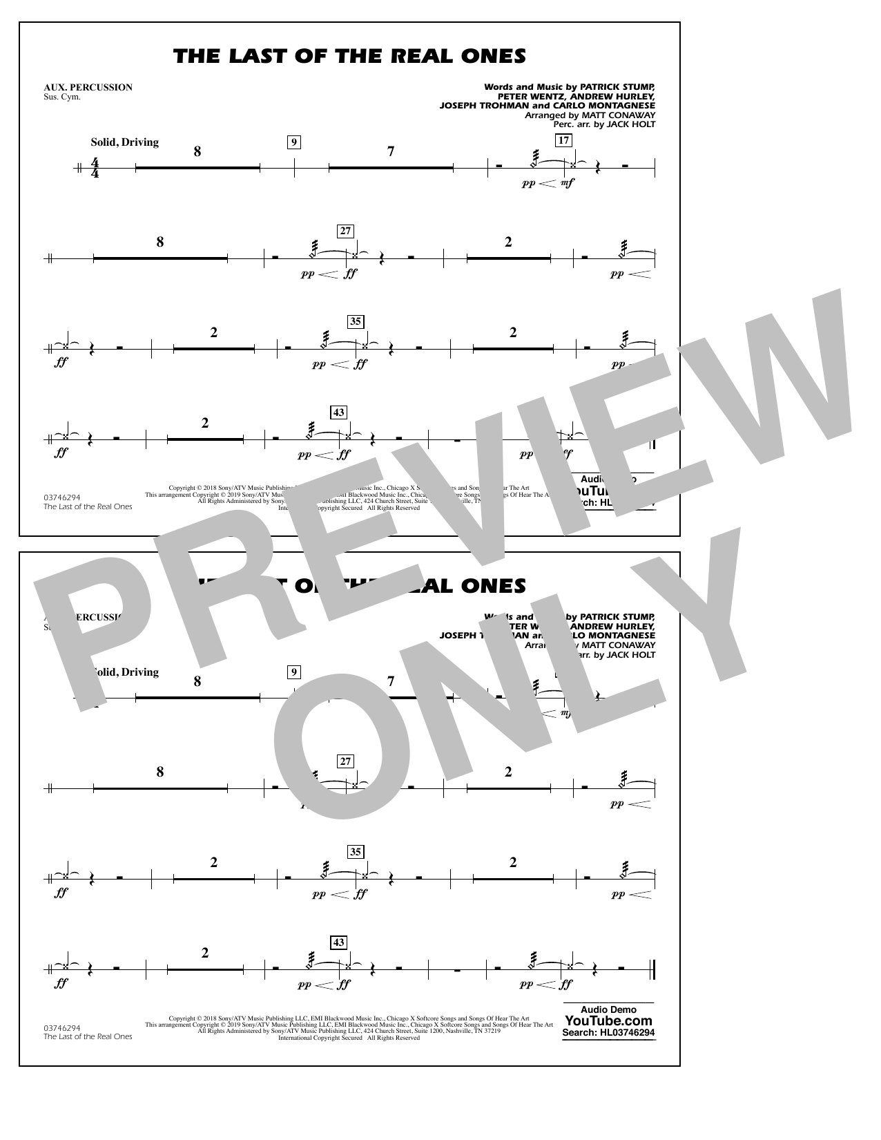 Last of the Real Ones (arr. Matt Conaway) - Aux Percussion (Marching Band)