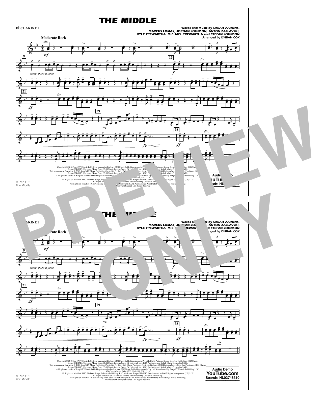 The Middle (arr. Ishbah Cox) - Bb Clarinet (Marching Band)
