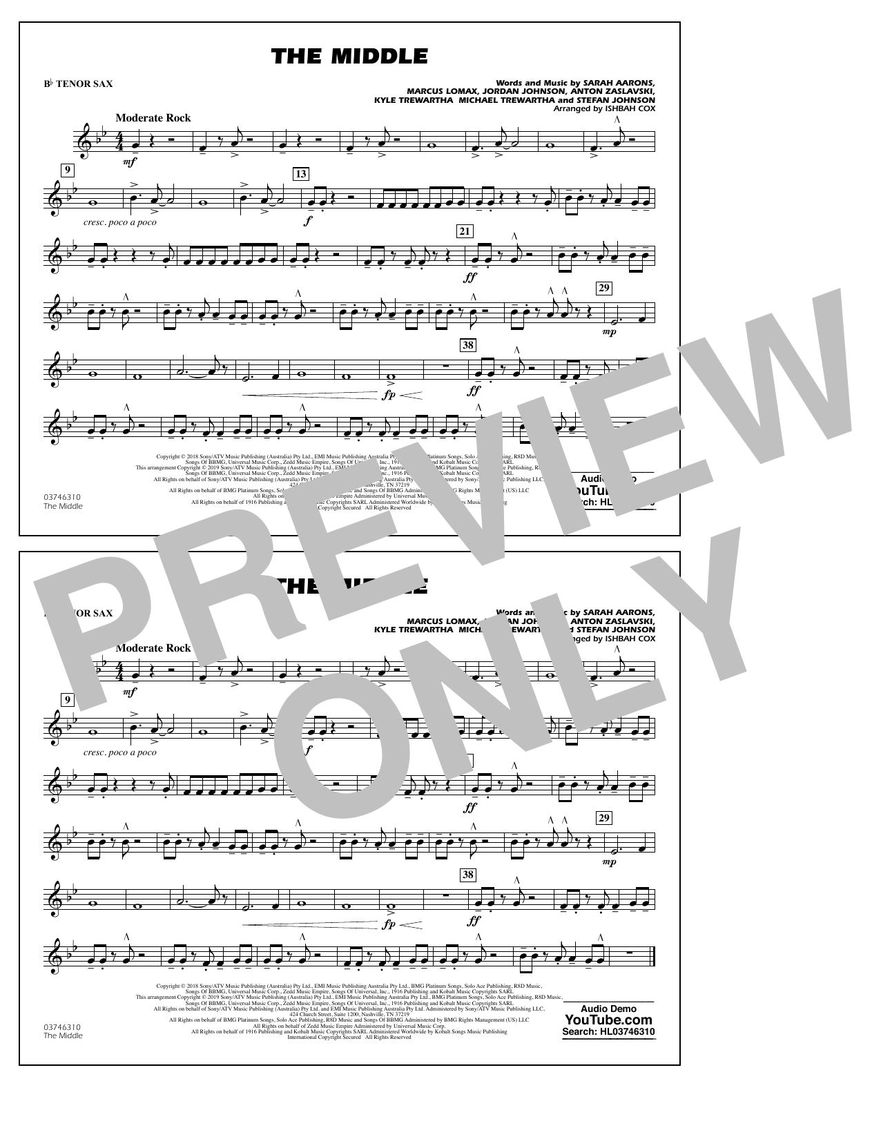 The Middle (arr. Ishbah Cox) - Bb Tenor Sax (Marching Band)