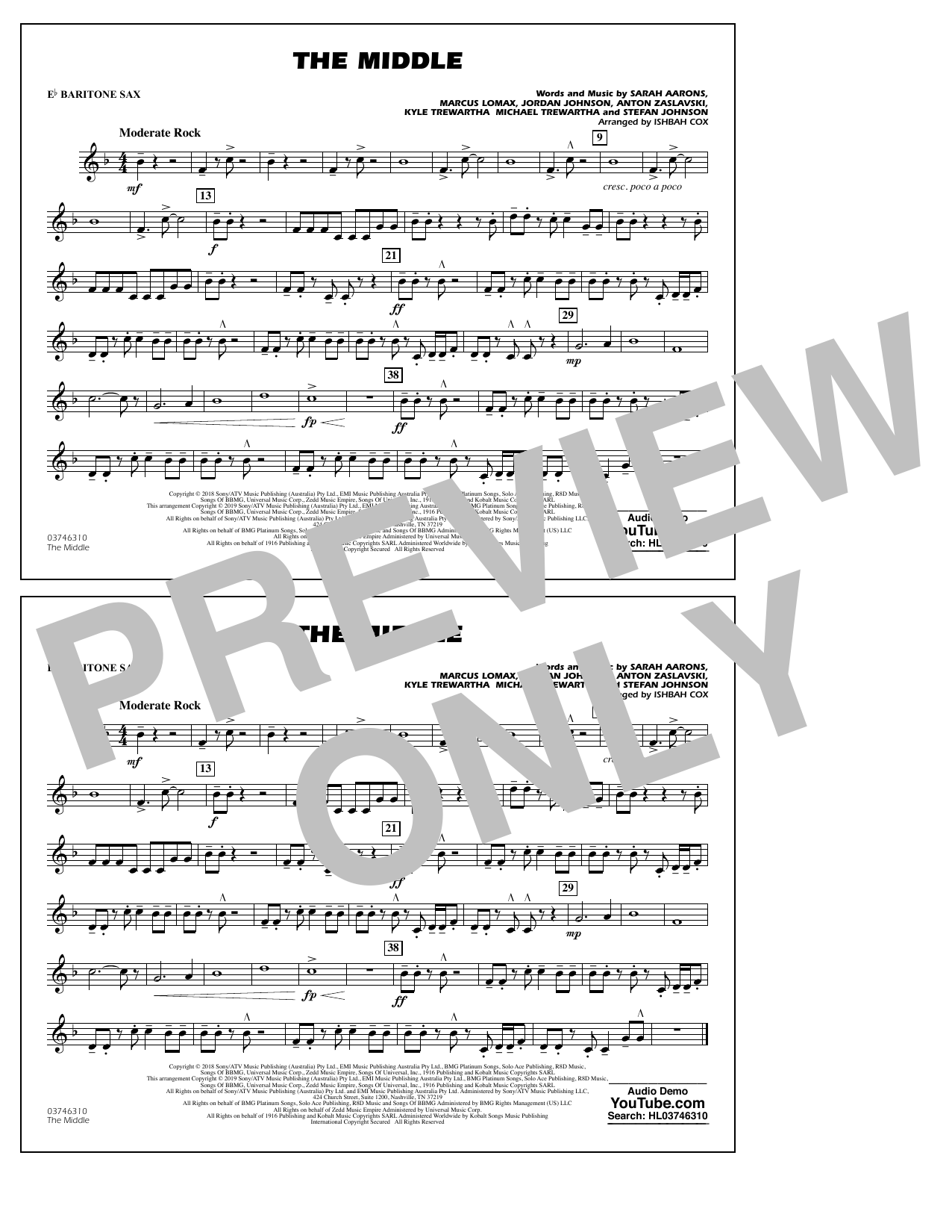 The Middle (arr. Ishbah Cox) - Eb Baritone Sax (Marching Band)