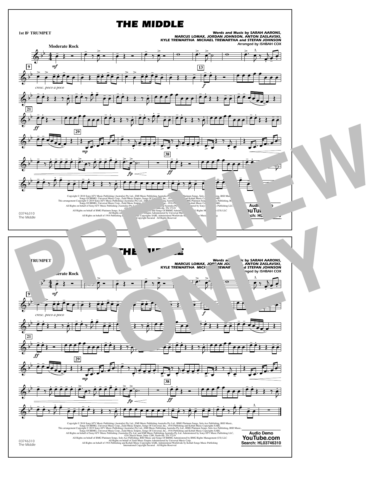 The Middle (arr. Ishbah Cox) - 1st Bb Trumpet (Marching Band)