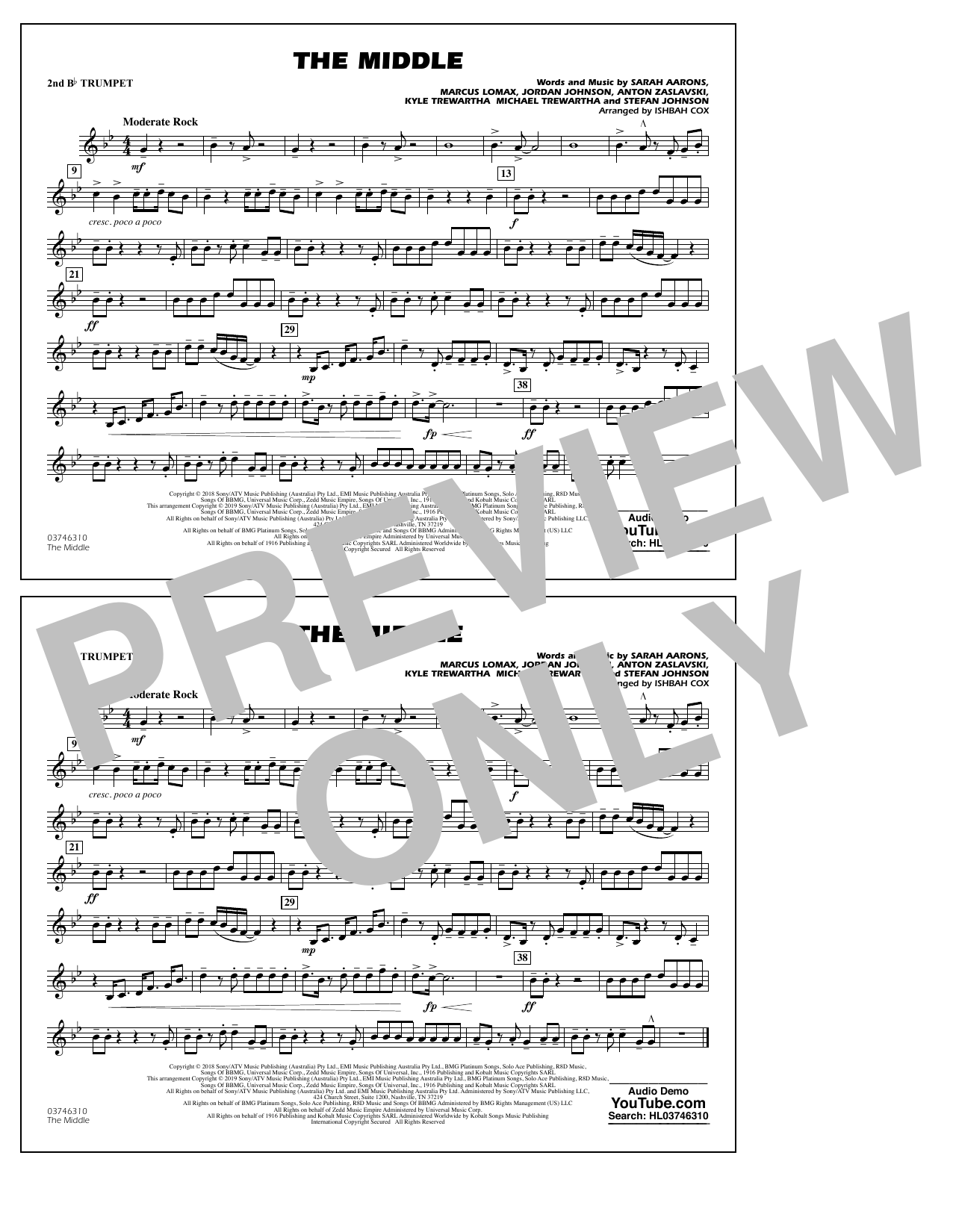 The Middle (arr. Ishbah Cox) - 2nd Bb Trumpet (Marching Band)
