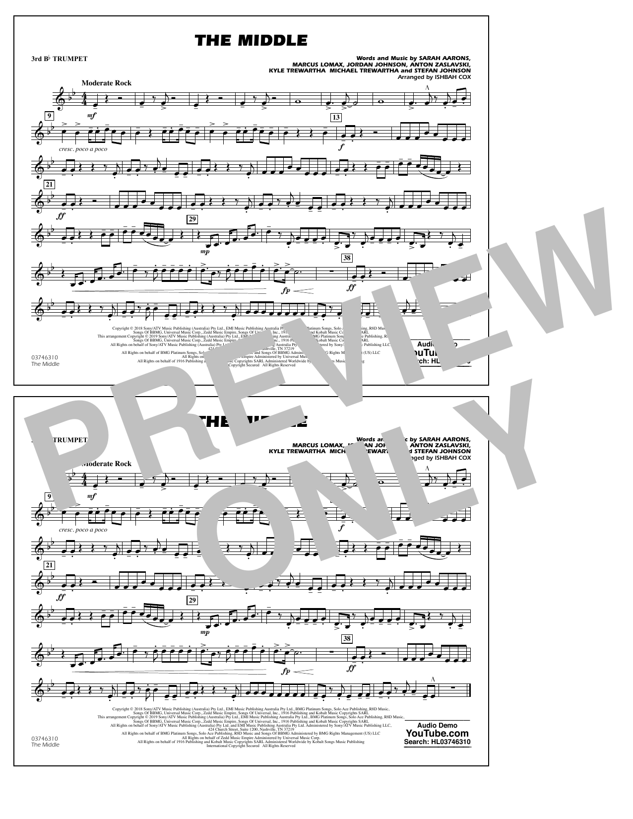The Middle (arr. Ishbah Cox) - 3rd Bb Trumpet (Marching Band)