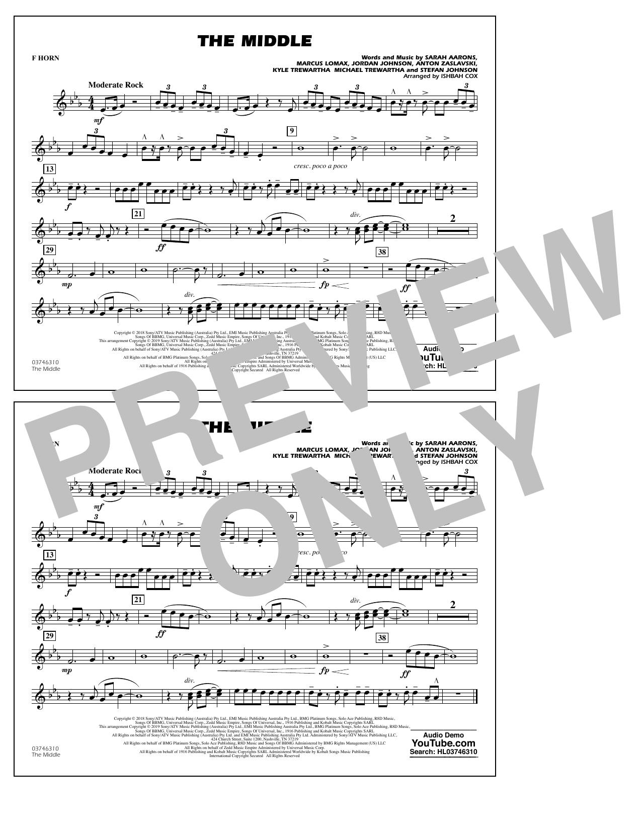 The Middle (arr. Ishbah Cox) - F Horn (Marching Band)