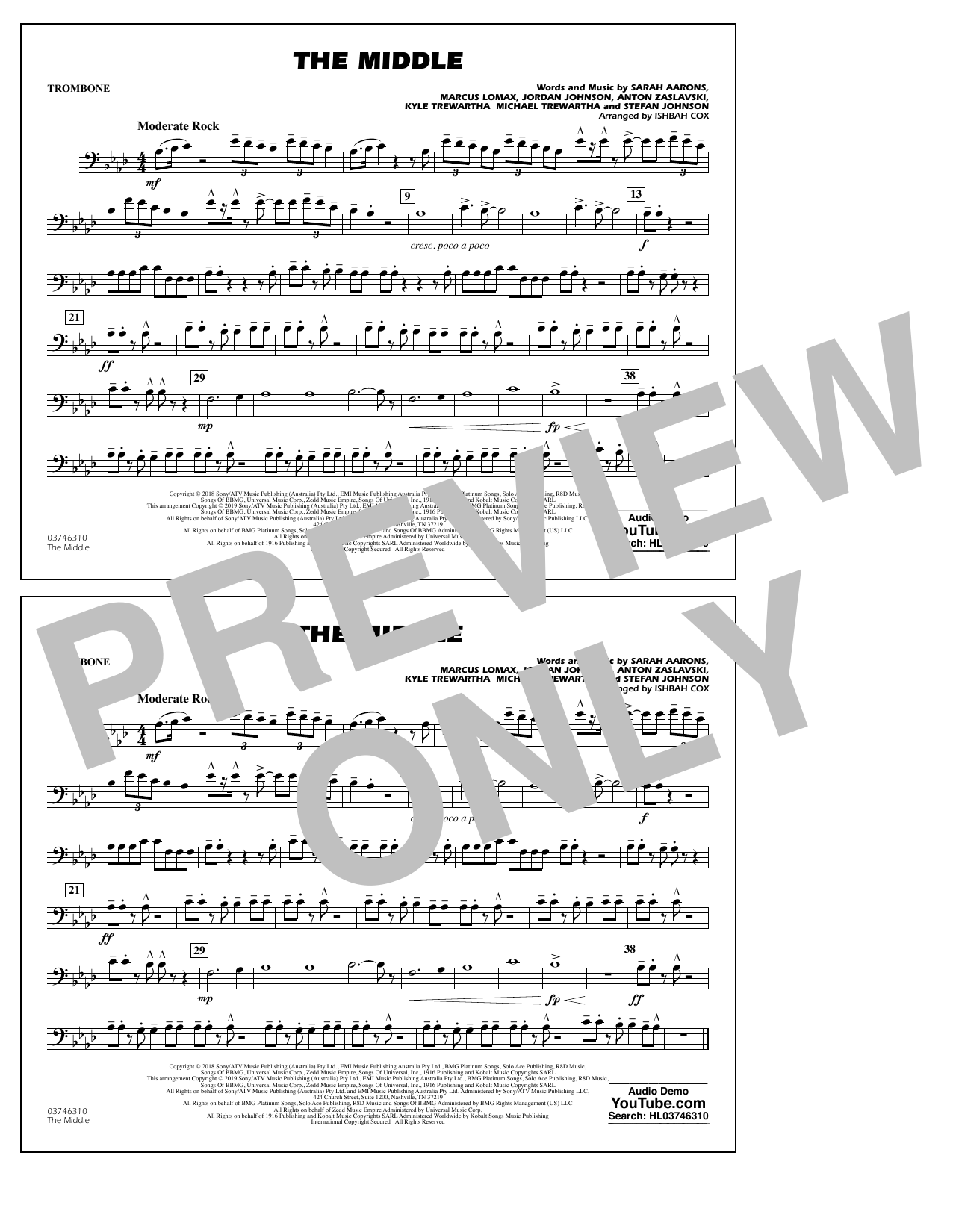 The Middle (arr. Ishbah Cox) - Trombone (Marching Band)