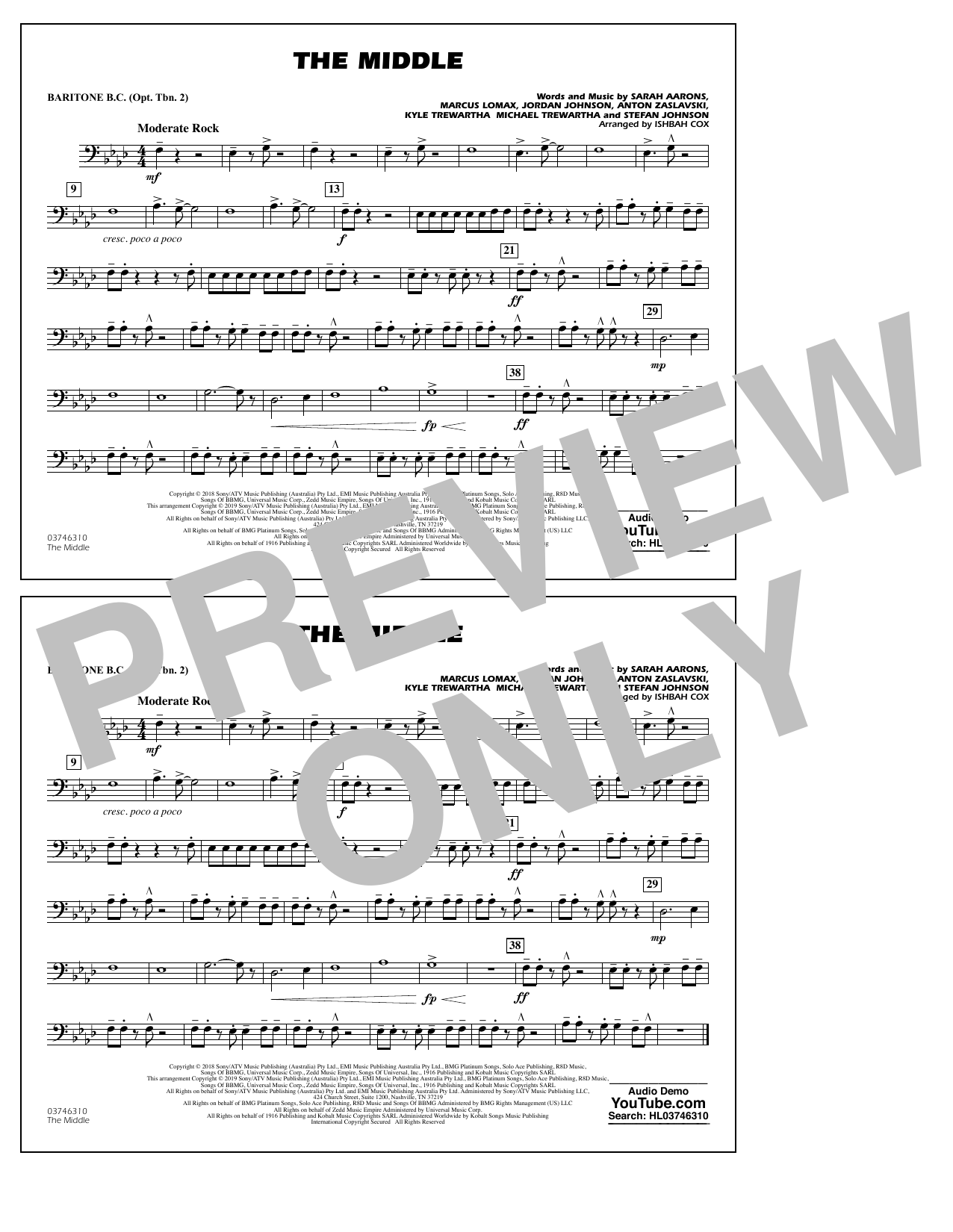The Middle (arr. Ishbah Cox) - Baritone B.C. (Opt. Tbn. 2) (Marching Band)