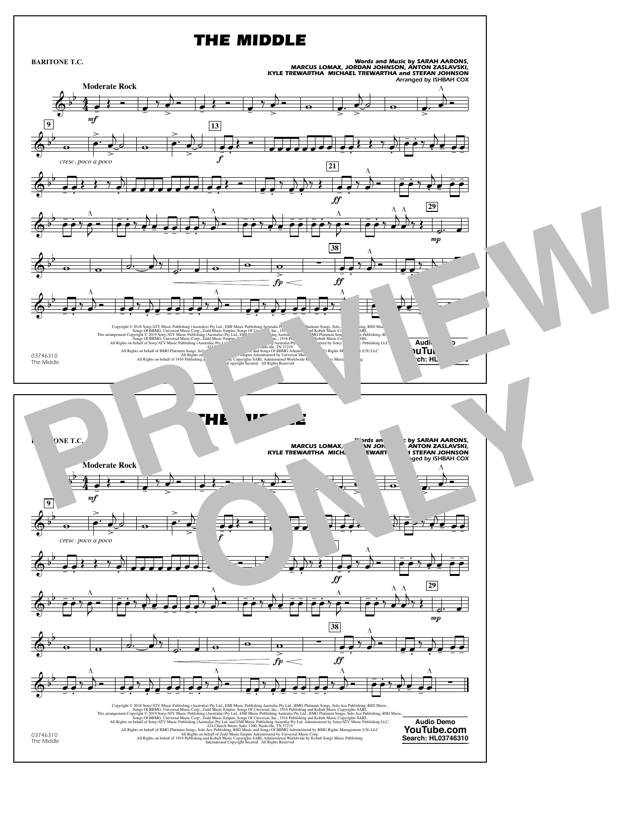 The Middle (arr. Ishbah Cox) - Baritone T.C. (Marching Band)