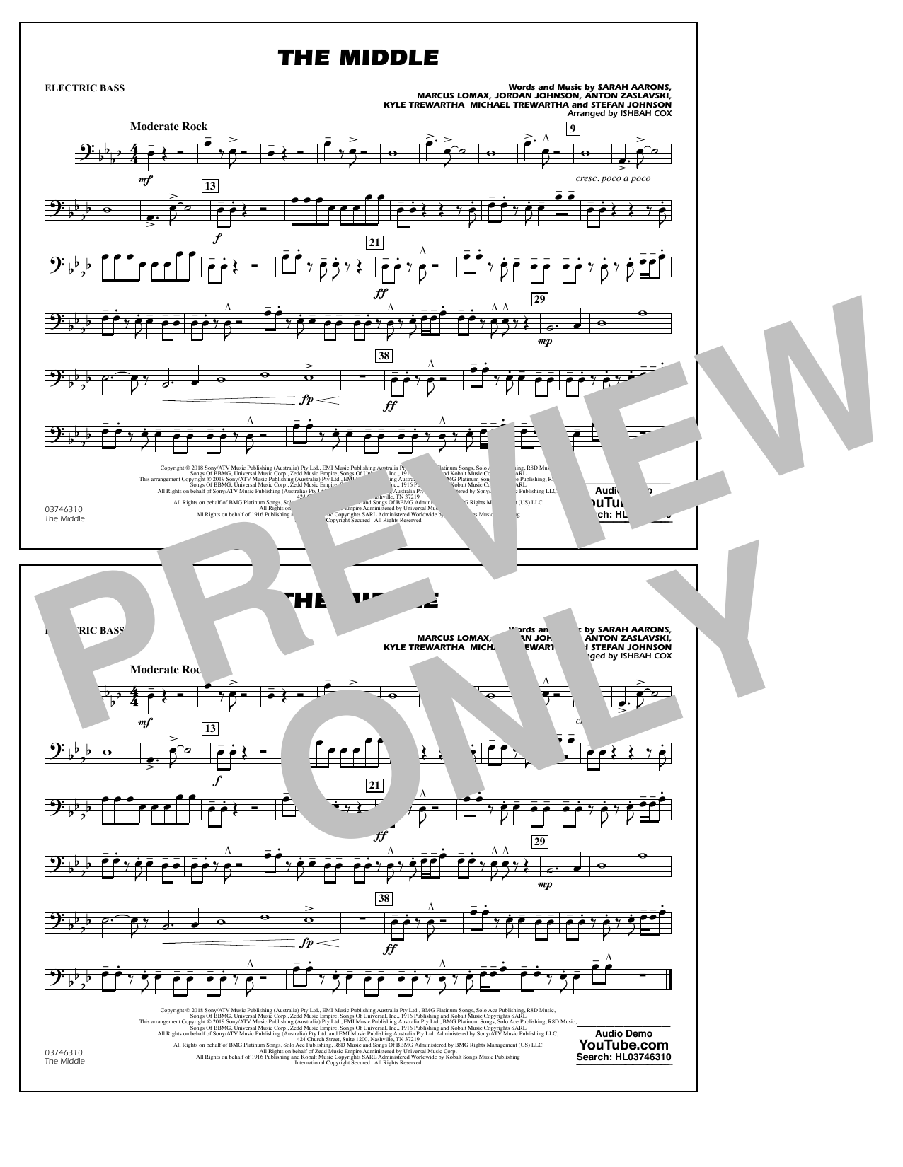 The Middle (arr. Ishbah Cox) - Electric Bass (Marching Band)