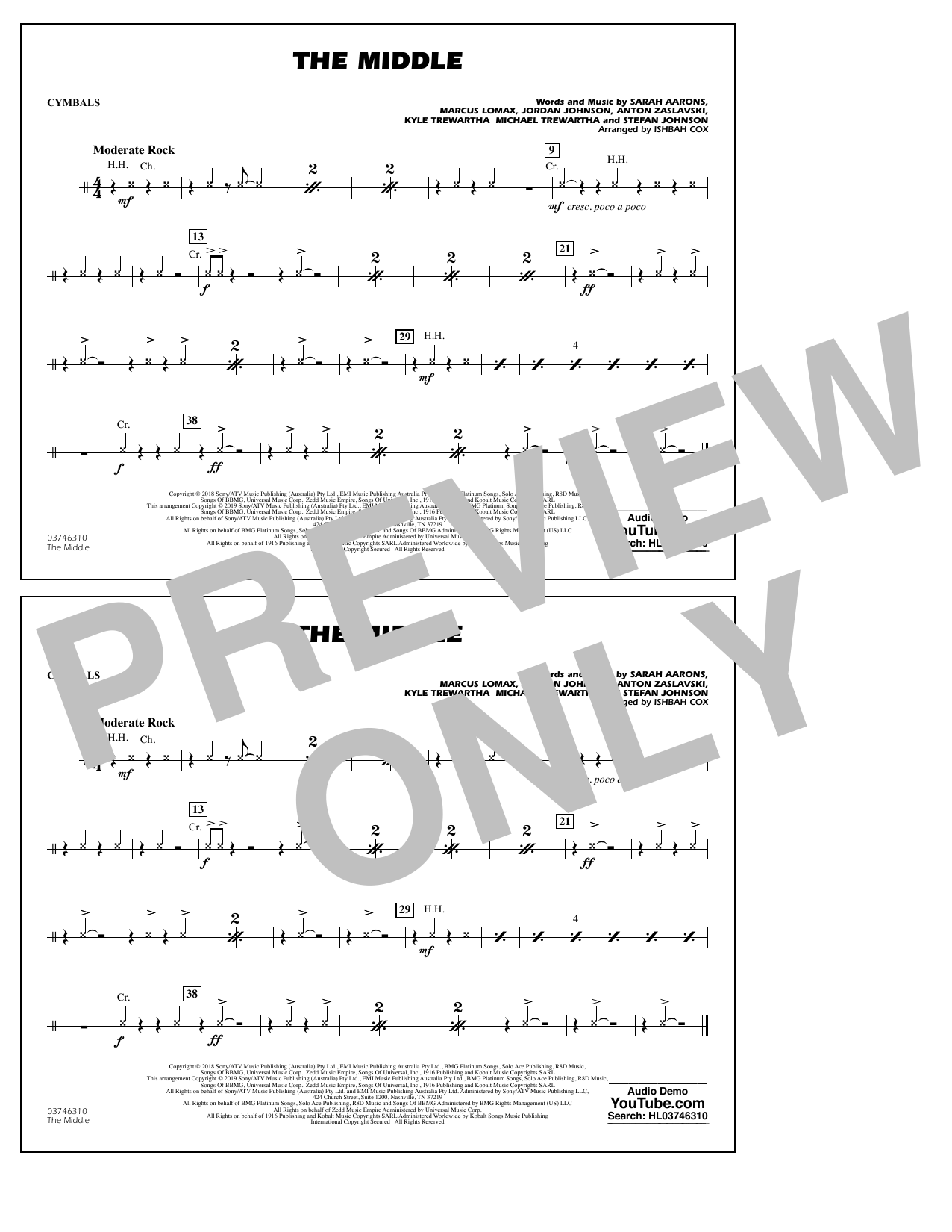 The Middle (arr. Ishbah Cox) - Cymbals (Marching Band)