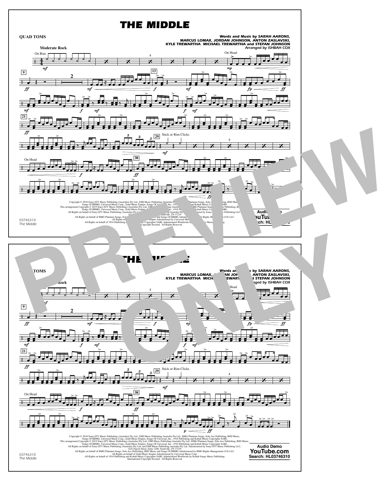 The Middle (arr. Ishbah Cox) - Quad Toms (Marching Band)