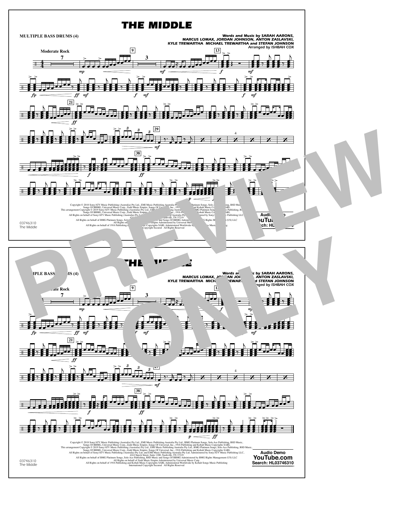 The Middle (arr. Ishbah Cox) - Multiple Bass Drums (Marching Band)