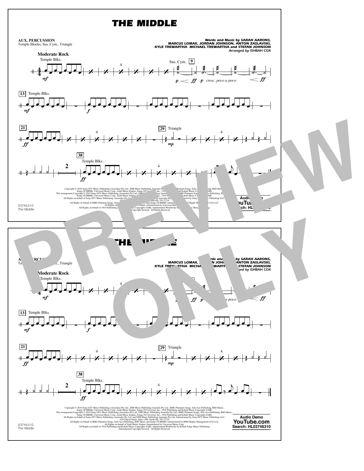 The Middle (arr. Ishbah Cox) - Aux Percussion (Marching Band)