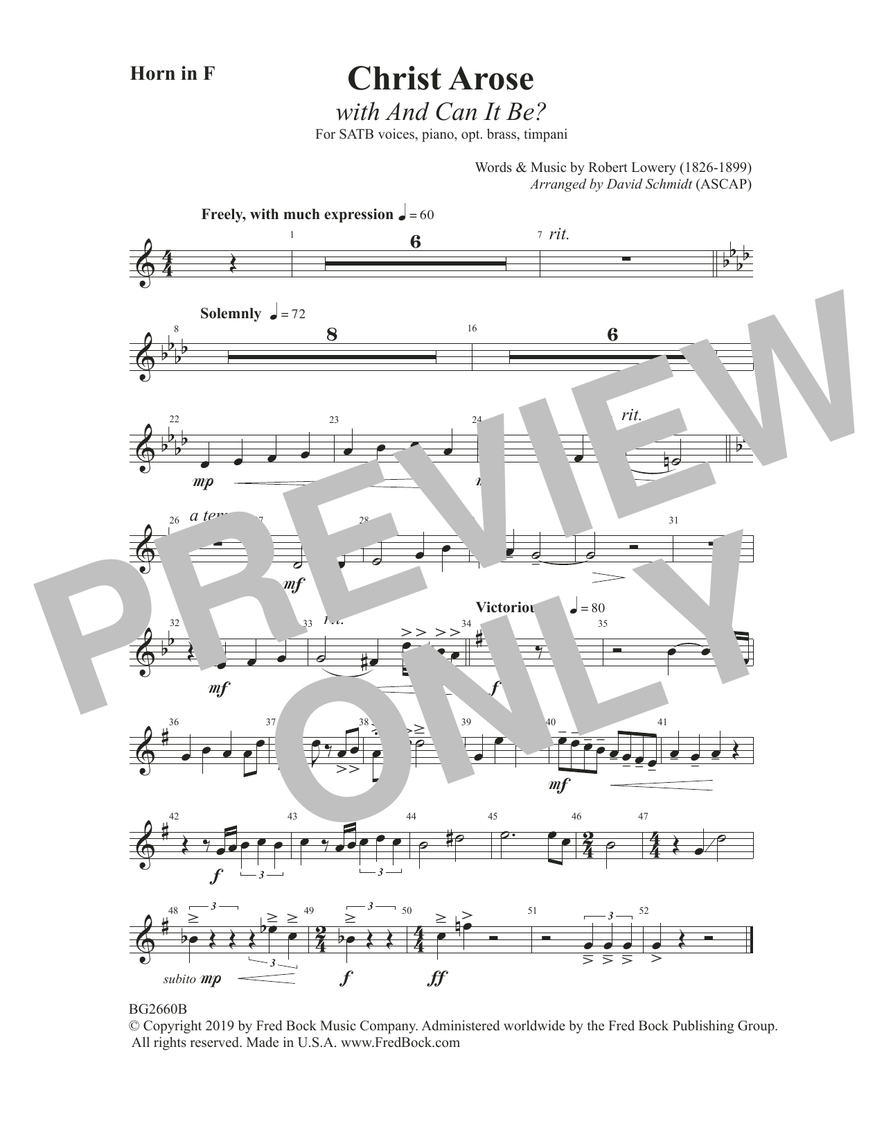 Christ Arose (with And Can It Be?) (arr. David Schmidt) - F Horn Sheet Music