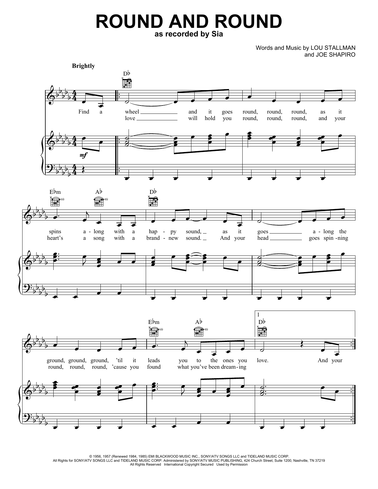 Round And Round (Piano, Vocal & Guitar (Right-Hand Melody))