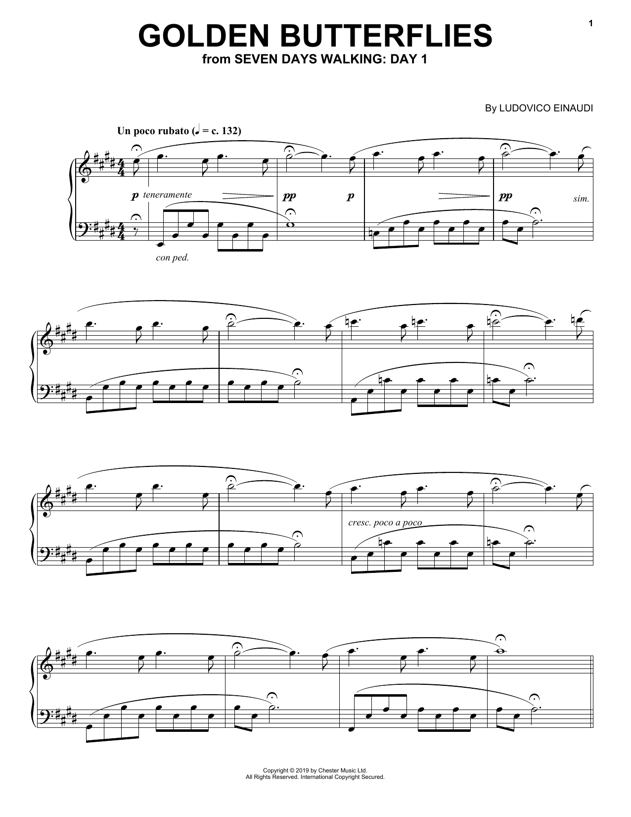 Golden Butterflies (from Seven Days Walking: Day 1) (Piano Solo)